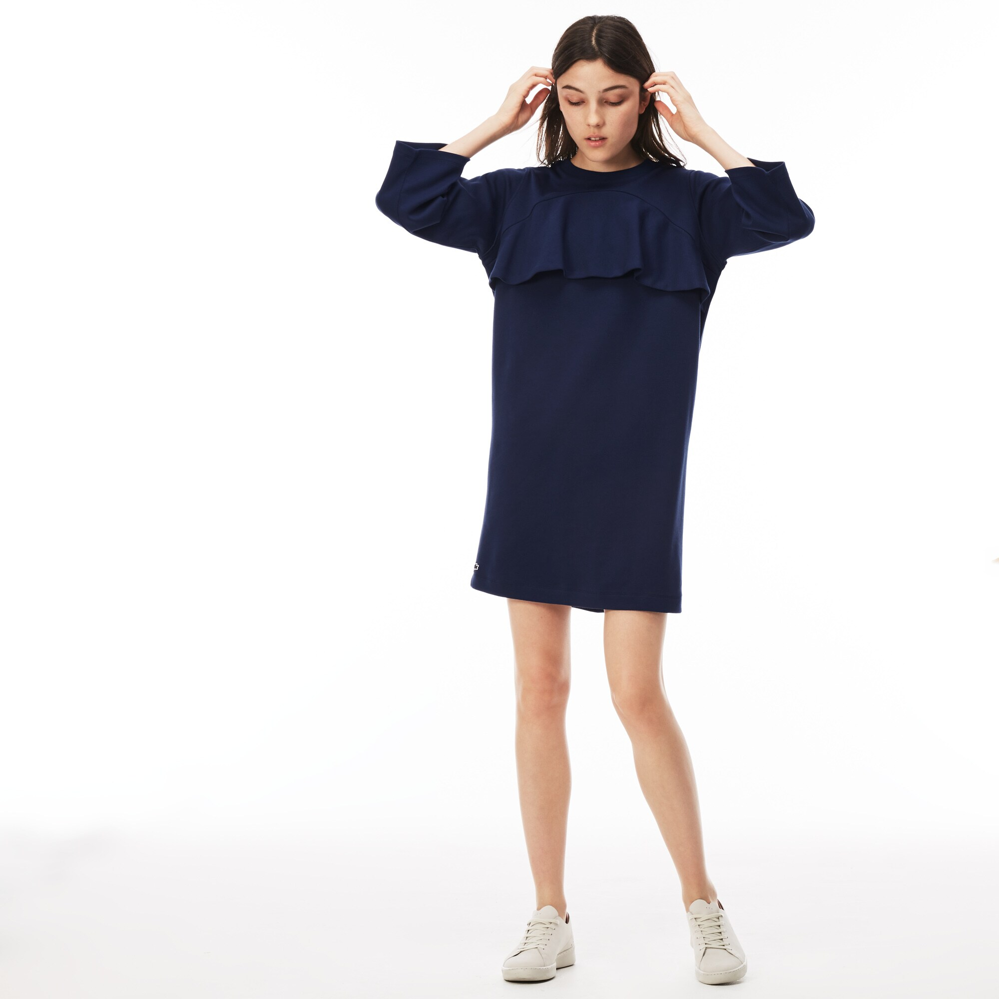 Damen-Sweatshirtkleid aus Interlock mit Volants LACOSTE L!VE
