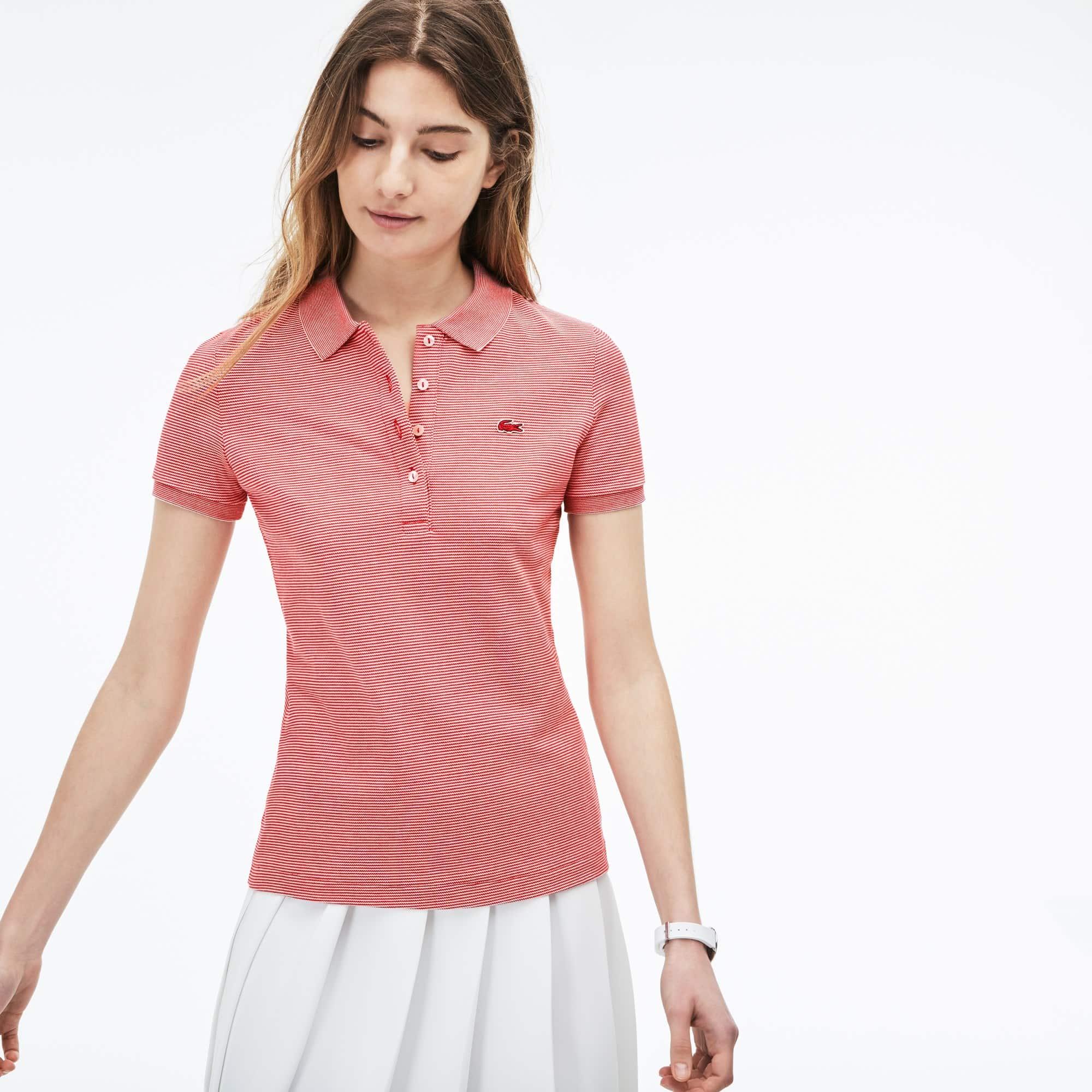 Slim Fit Damen-Polo aus gestreiftem Stretch-Mini-Piqué LACOSTE