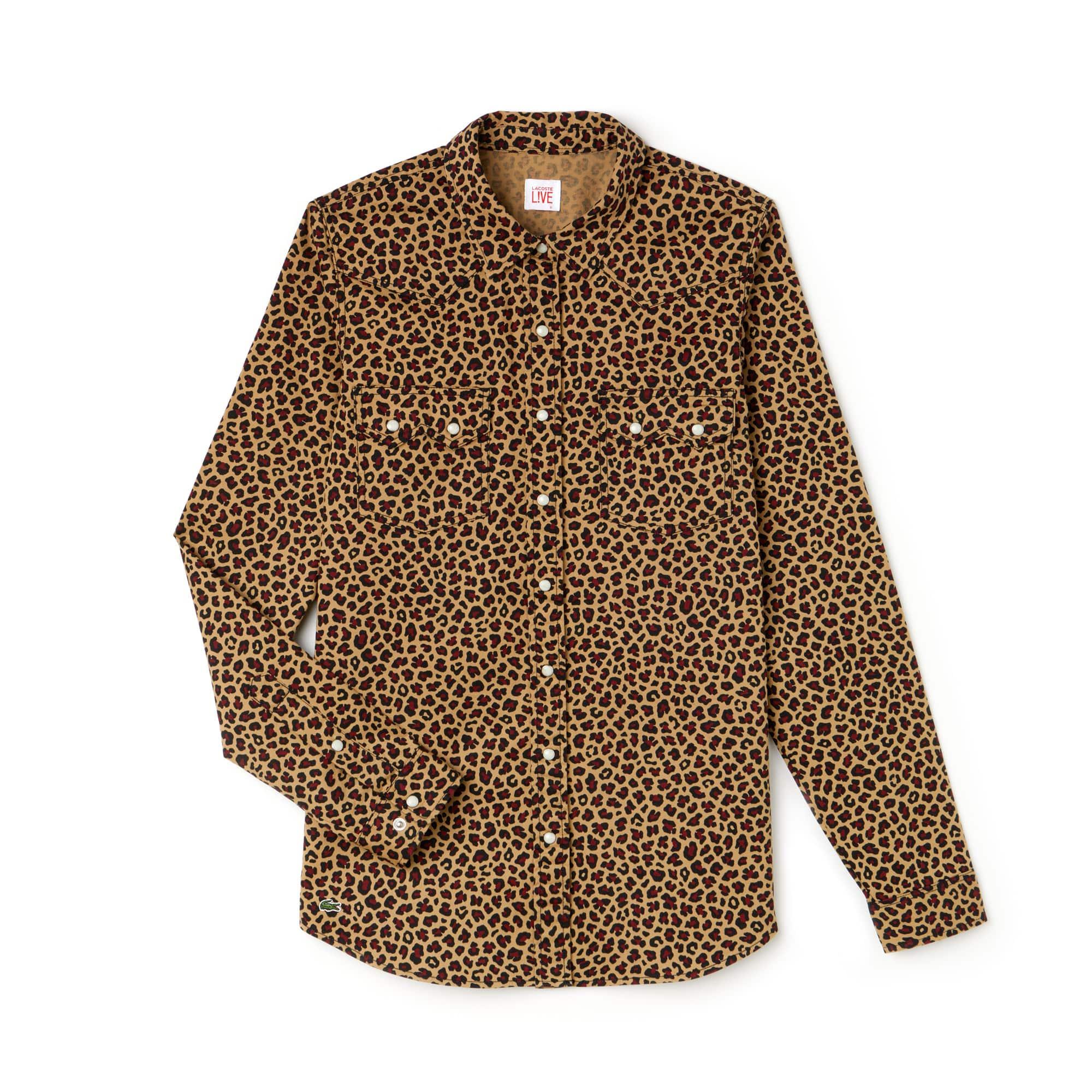 Damen LACOSTE L!VE Bluse aus Stretch-Twill mit Leopard-Print