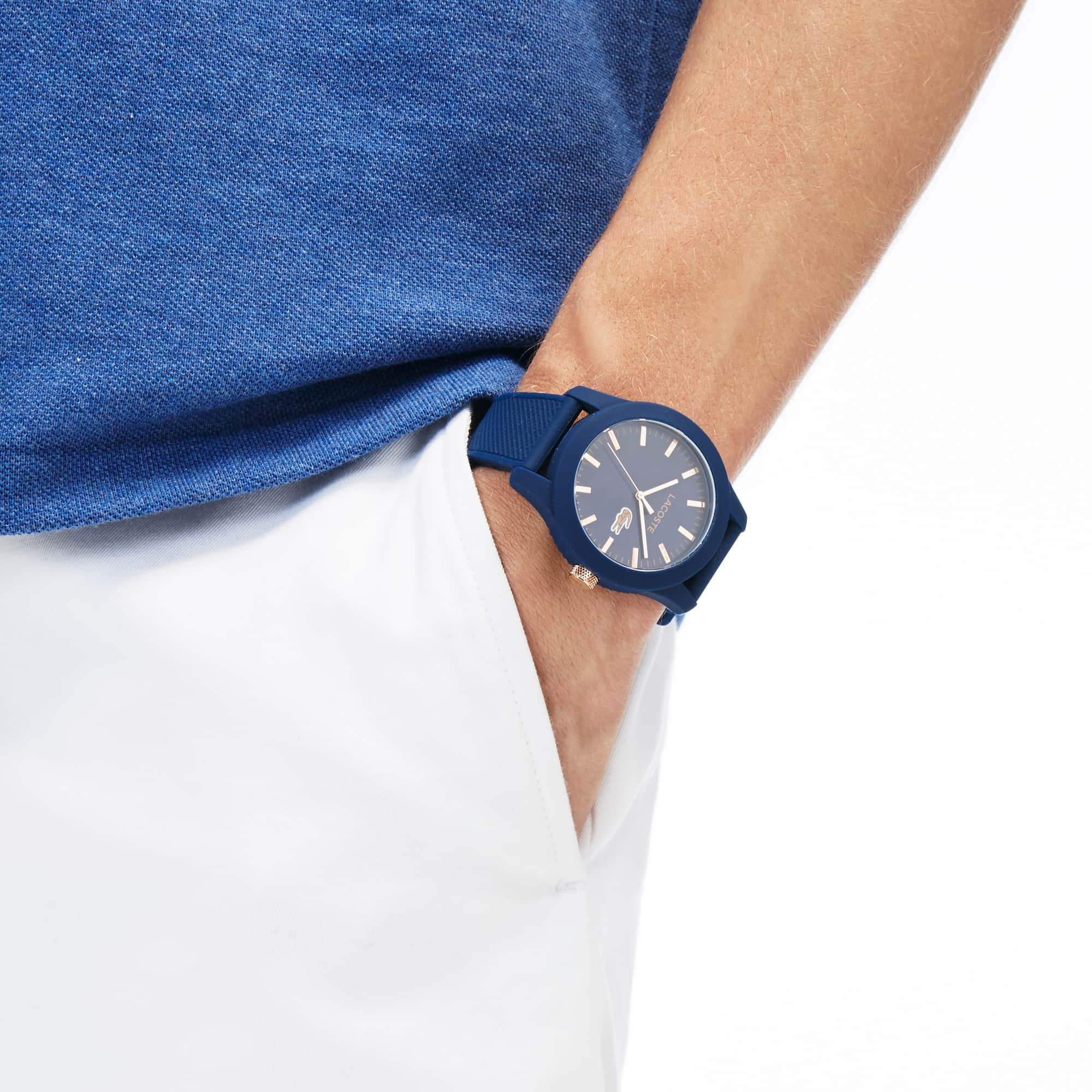 LACOSTE 12.12 Herrenuhr mit blauem Silikonband