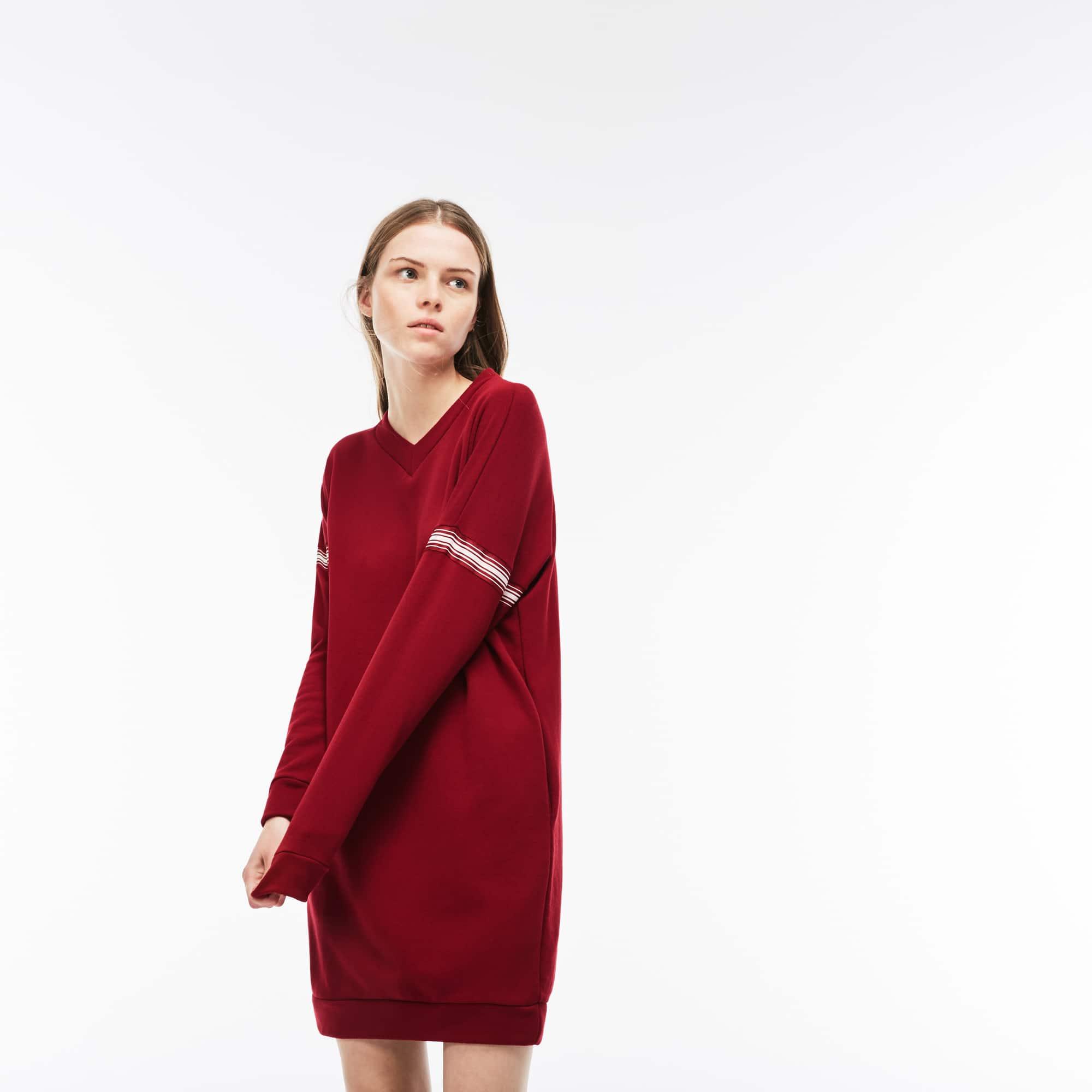 Damen-Sweatshirtkleid aus Krepp-Fleece mit Kontraststreifen