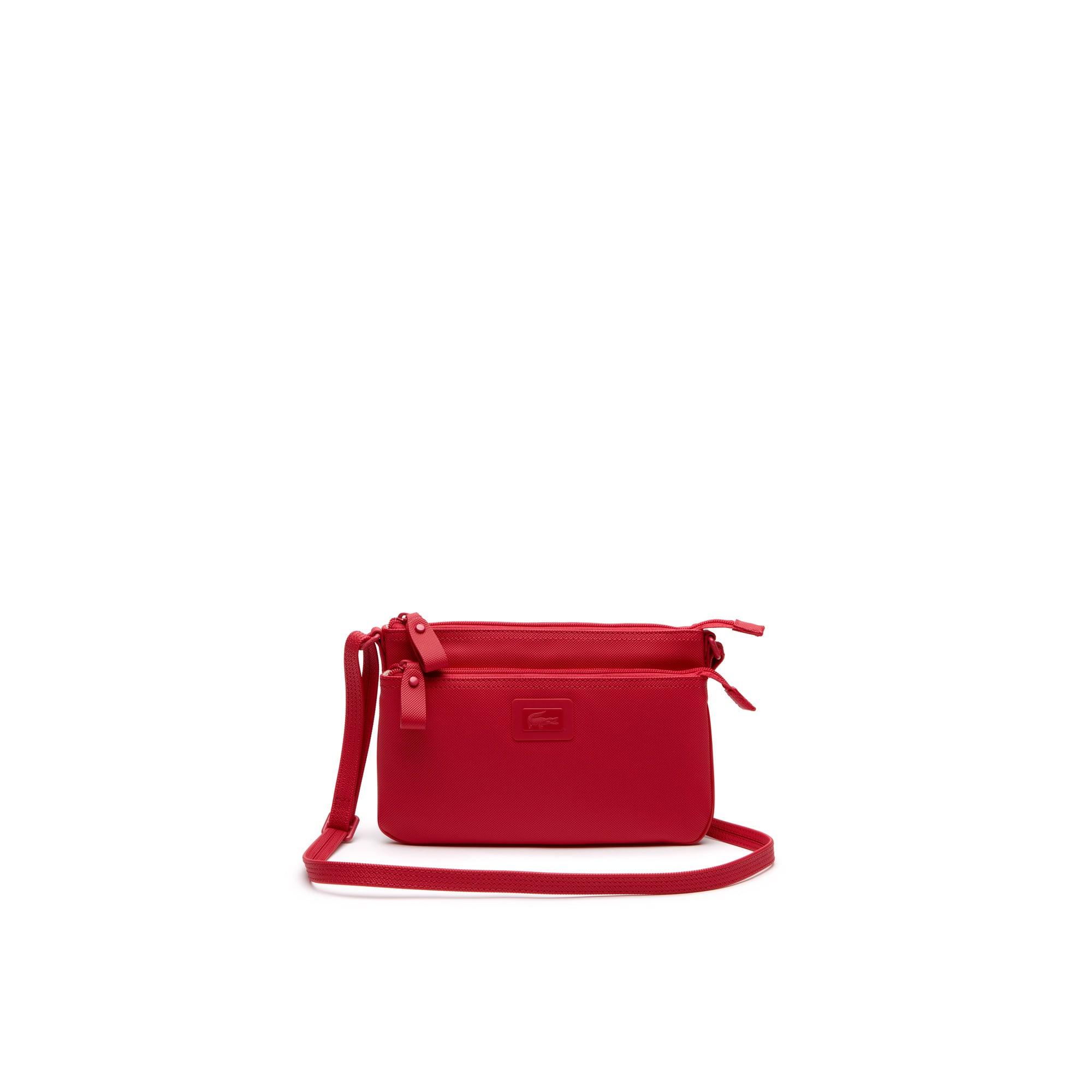 Women's Classic monochrome Pochette-Tasche mit Doppelreißverschluss