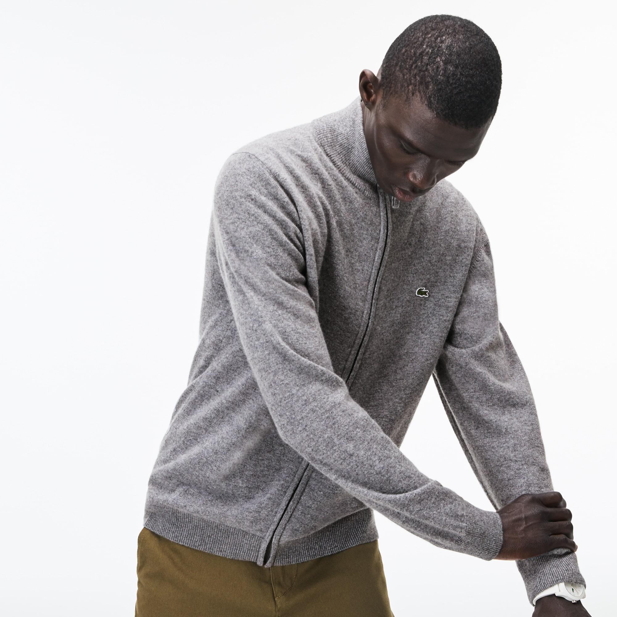 Herren-Strickjacke aus Woll-Jersey mit Stehkragen