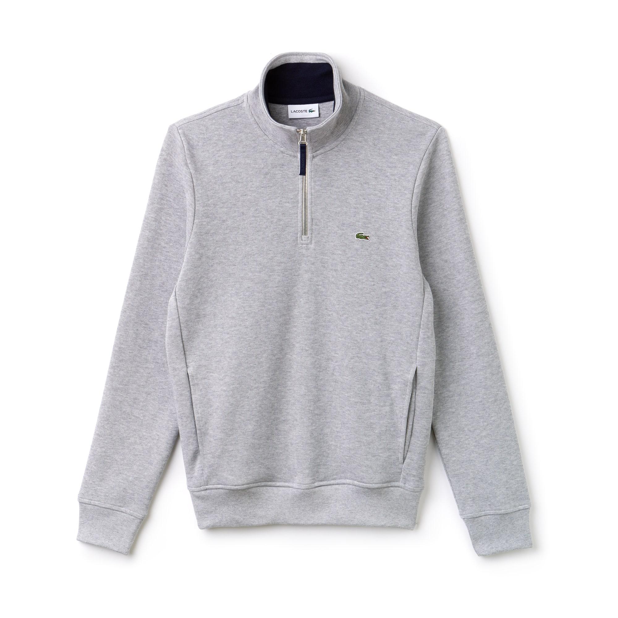 Herren-Sweatshirt mit Reißverschluss-Stehkragen und Rippmuster