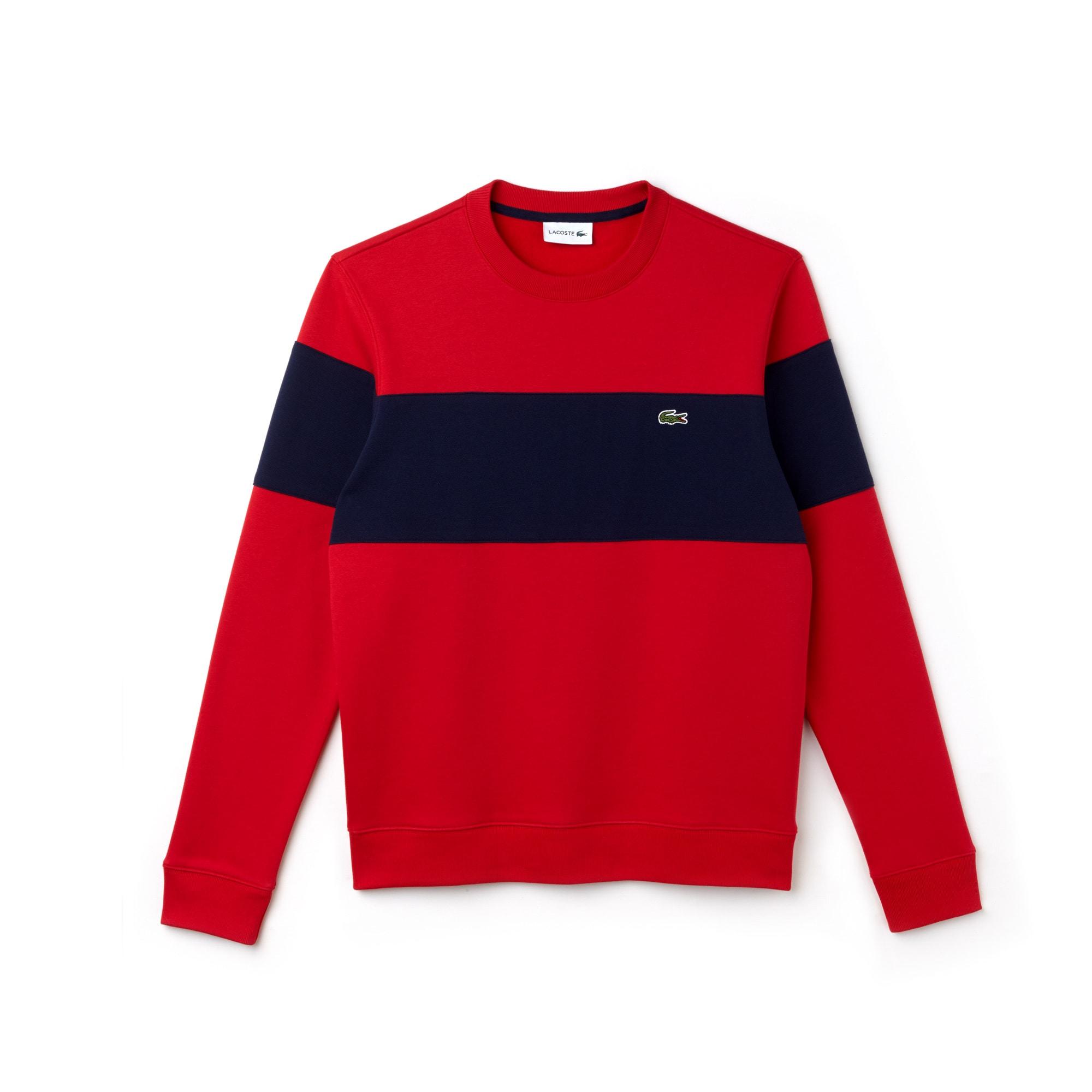 Herren Rundhals-Sweatshirt aus Baumwollfleece mit Colorblocks