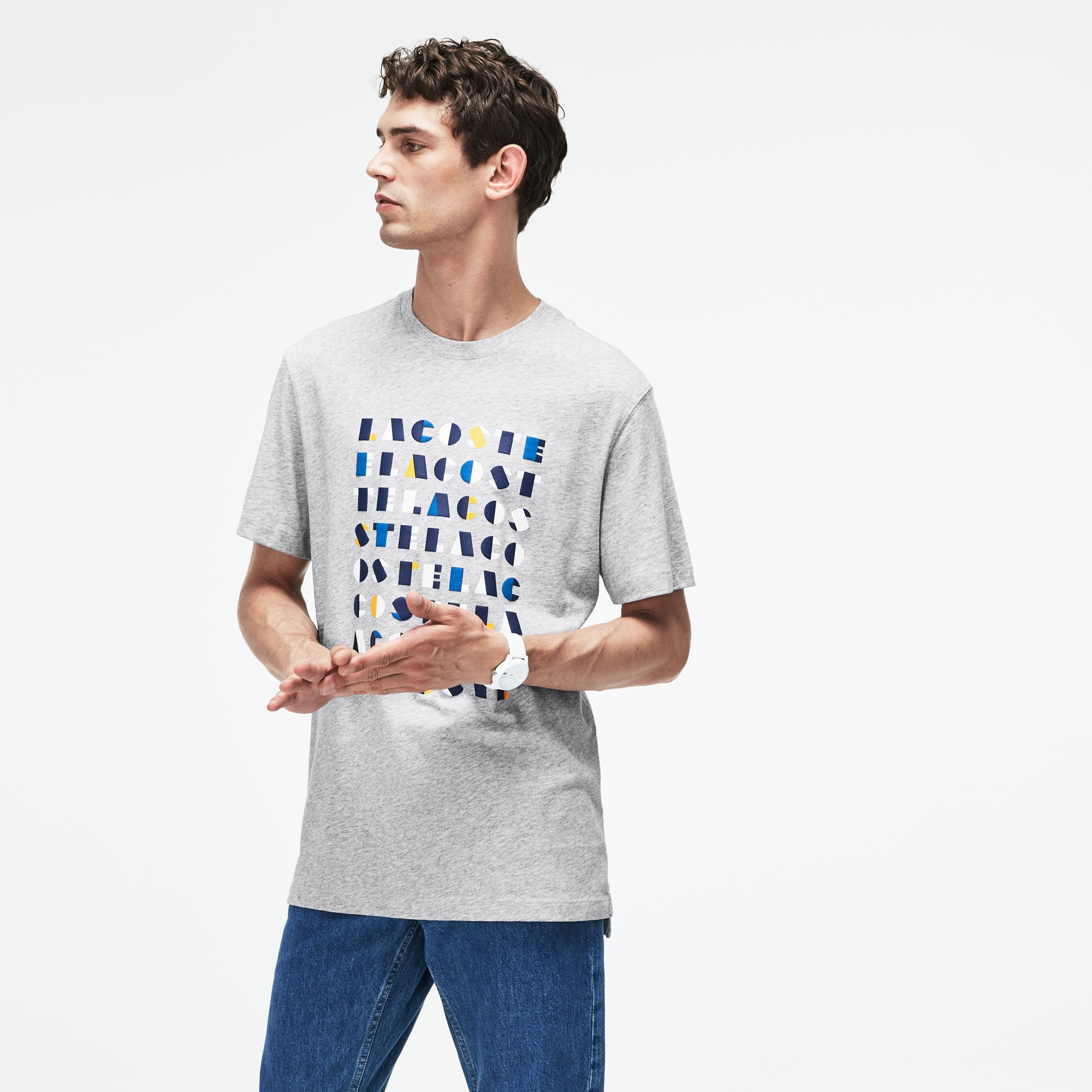Herren Rundhals-T-Shirt aus Baumwolljersey mit 3D Schriftzug