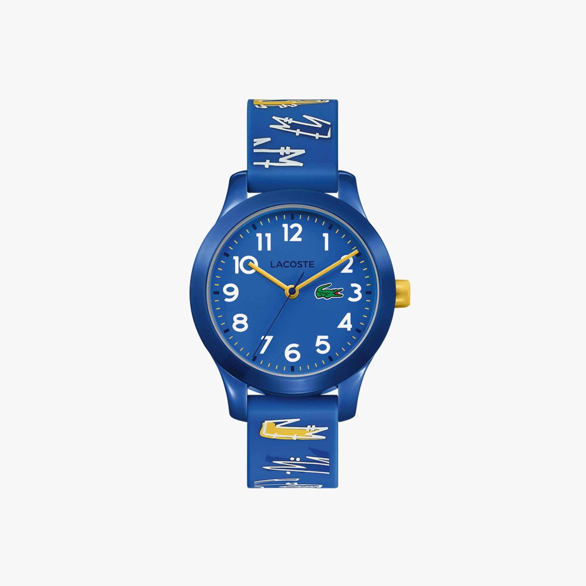 LACOSTE 12.12 Kinderuhr mit blauem bedrucktem Silikonband
