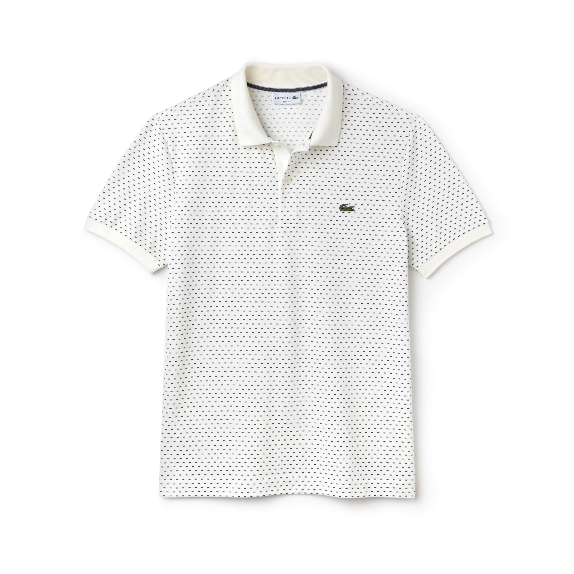 Herren LACOSTE Slim Fit Mini Piqué Poloshirt mit Aufdruck