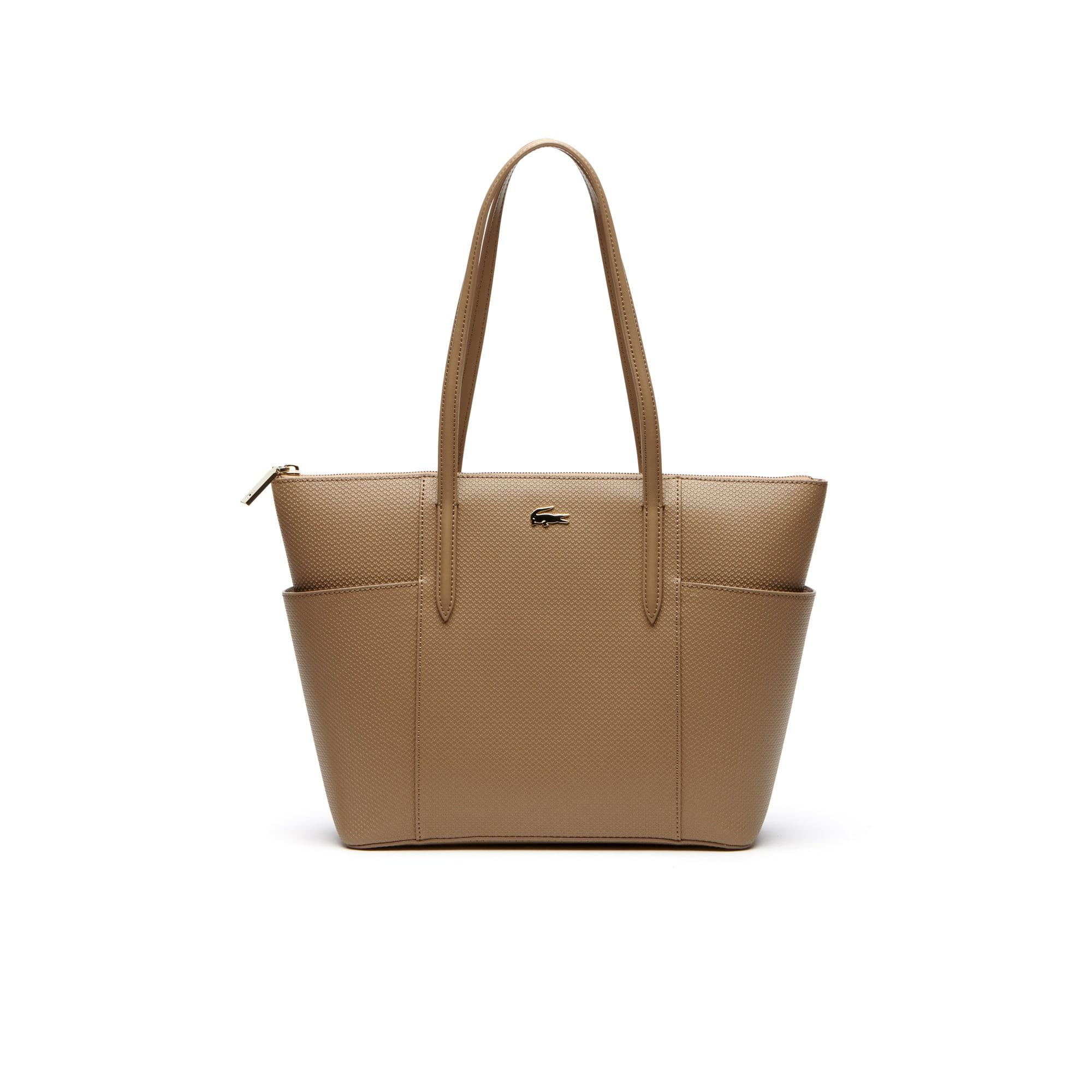 Damen Chantaco Piqué Tote Bag aus Leder mit Reißverschlusstaschen
