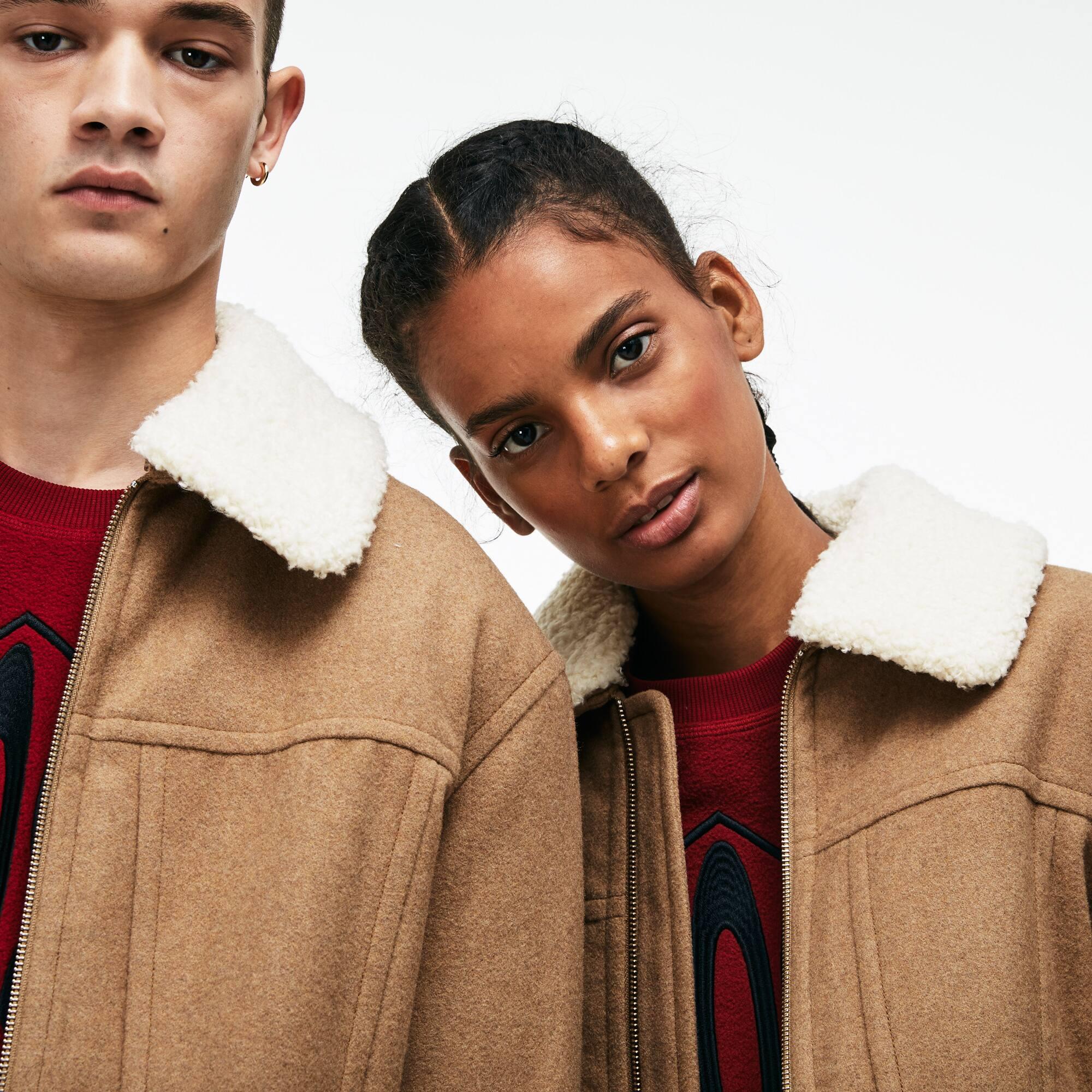 Unisex LACOSTE L!VE Jacke aus Woll-Walkstoff mit abnehmbarem Kragen