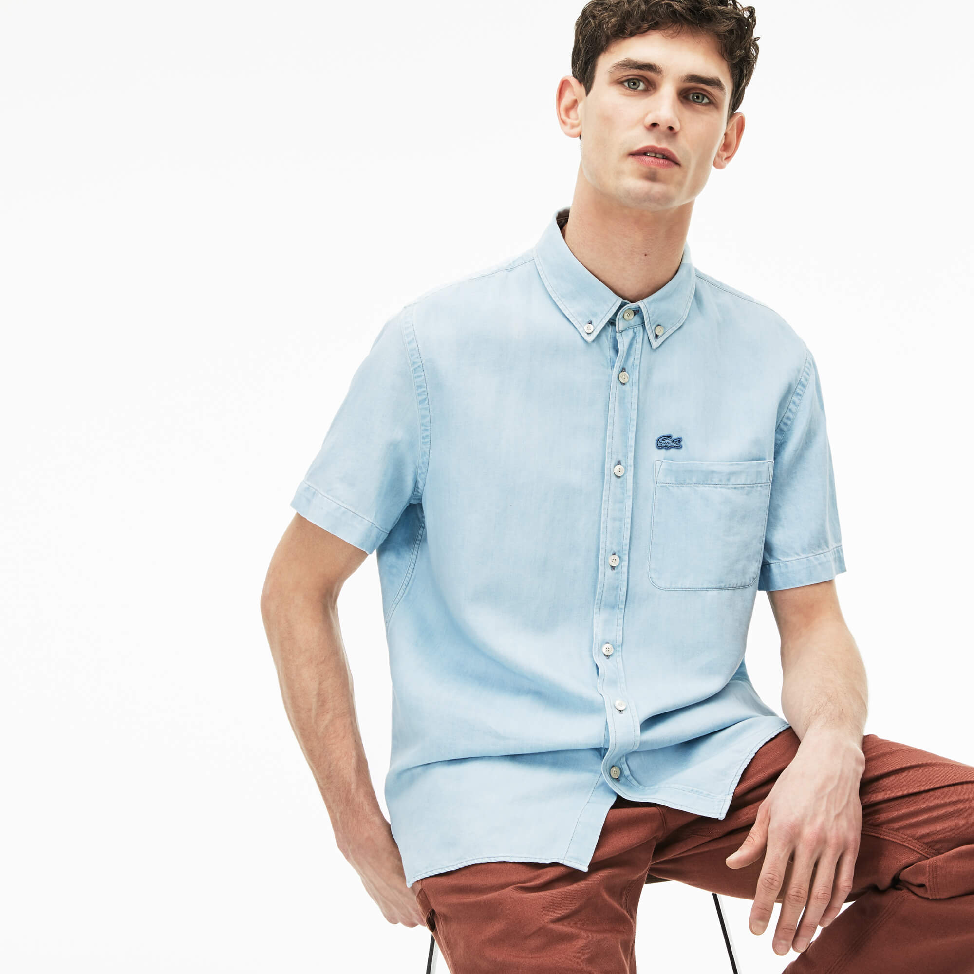 Herren Relaxed Fit Hemd aus leichtem Denim