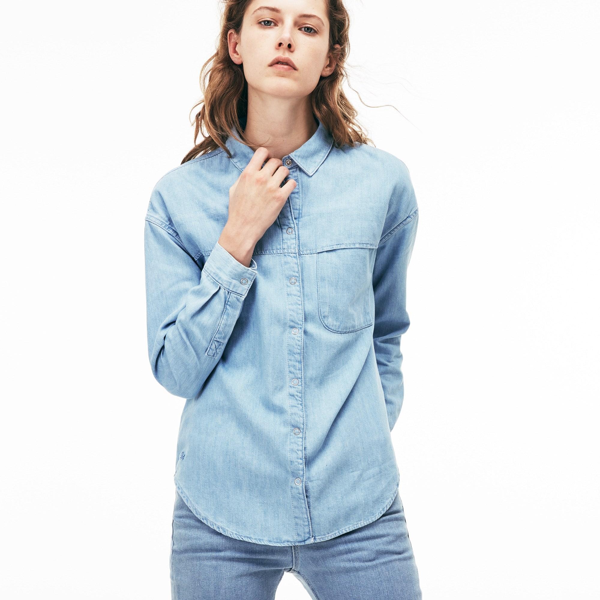 Damen Regular Fit Denim Bluse aus Baumwolle