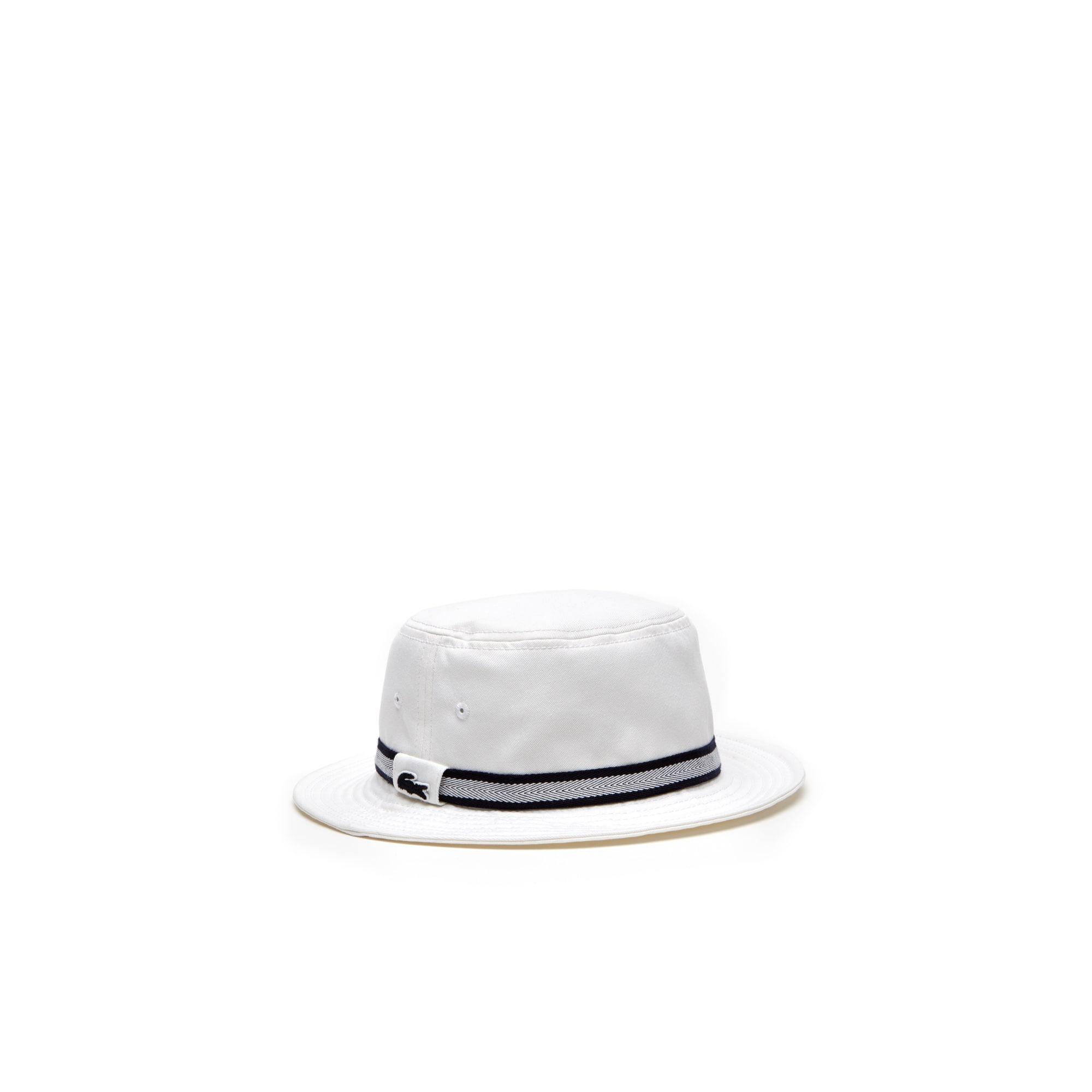 Herren-Hut aus Baumwoll-Gabardine mit gestreiftem Band
