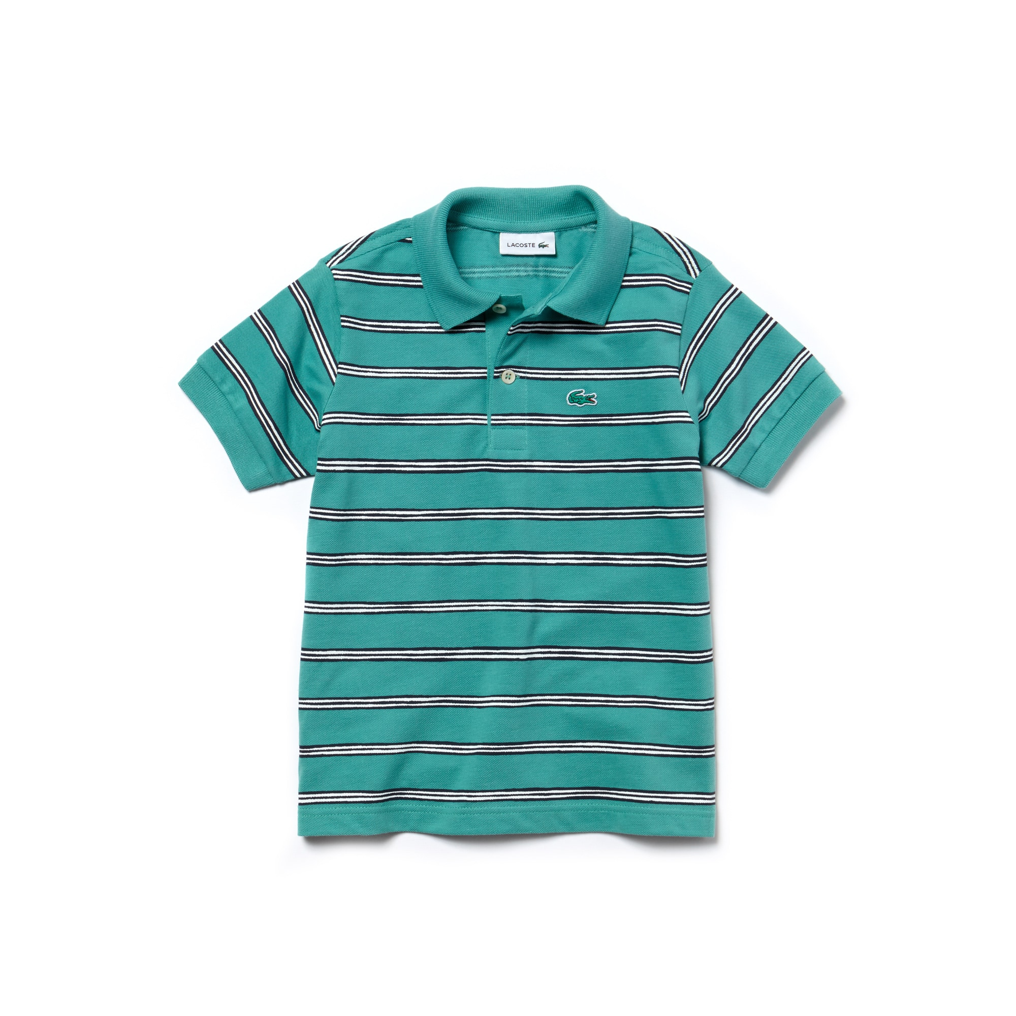 Gestreiftes Jungen LACOSTE Poloshirt aus Mini-Piqué