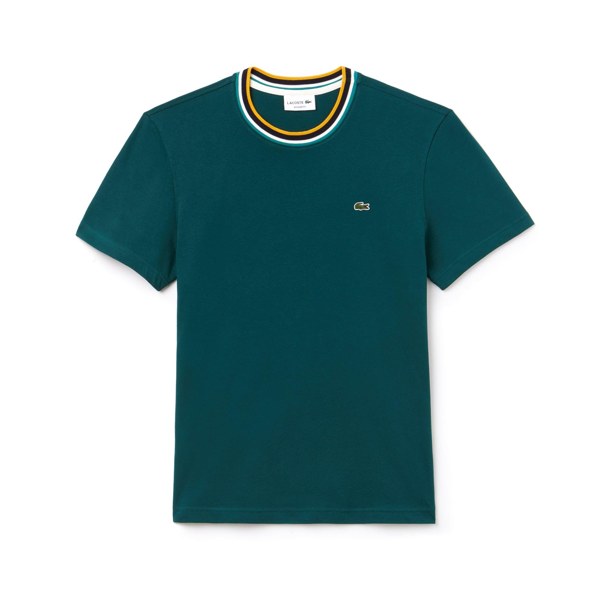 Herren-Rundhals-Shirt aus Baumwolljersey mit Ripp-Kragen