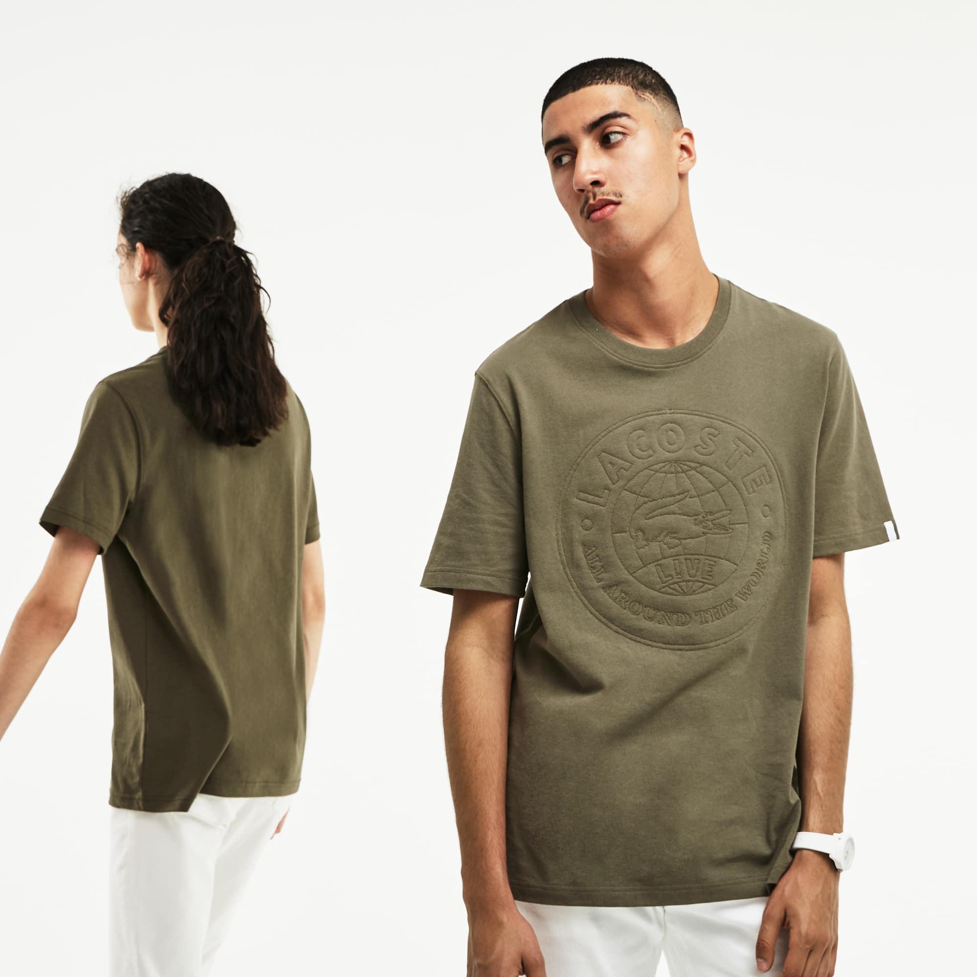 Unisex-Rundhals-T-Shirt aus Jersey mit Aufnäher LACOSTE L!VE