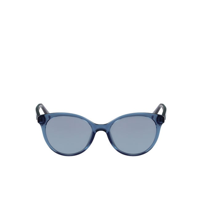 damen blaue sonnenbrille mit ton in ton logo lacoste. Black Bedroom Furniture Sets. Home Design Ideas