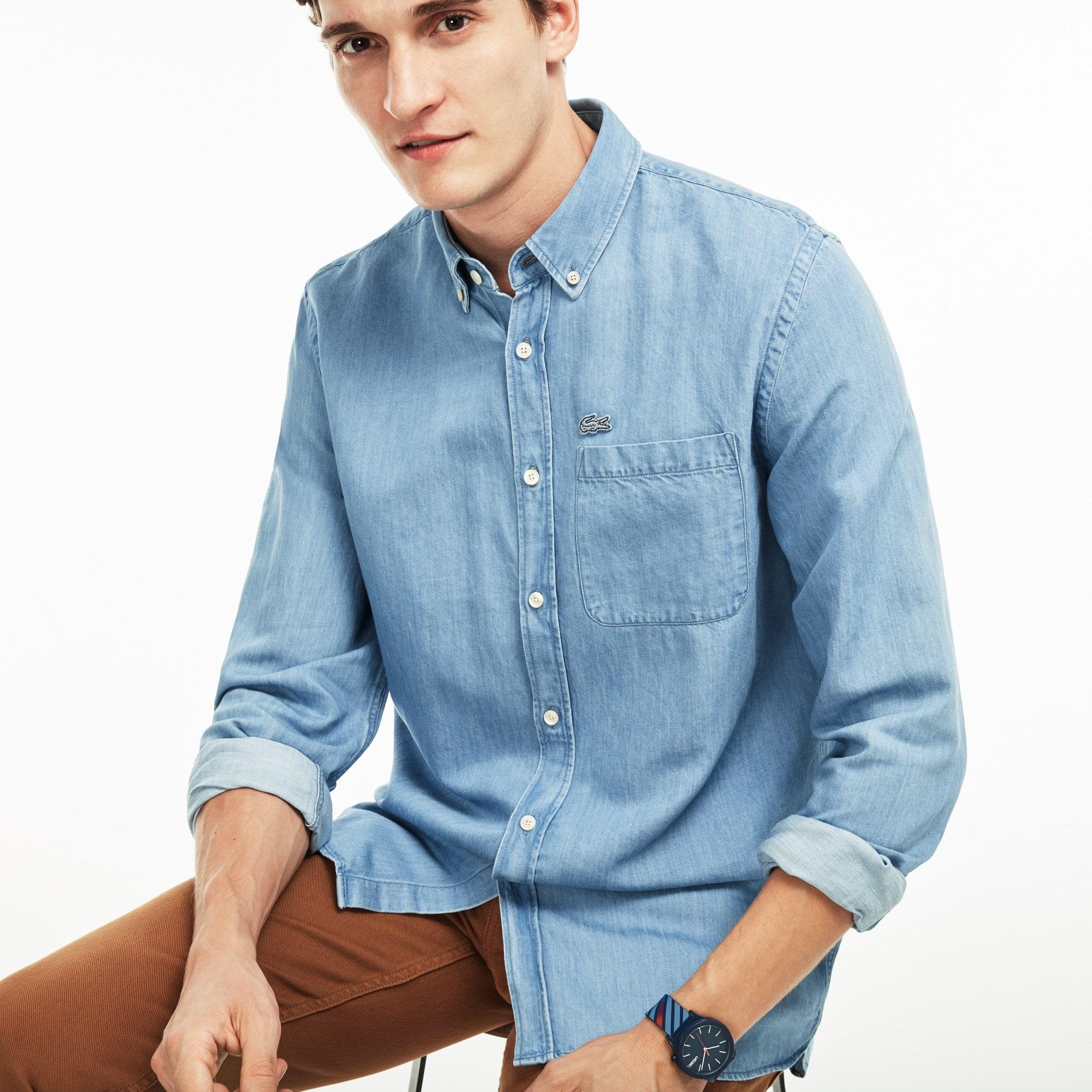 Herren Regular Fit Denim Hemd aus Baumwolle und Leinen