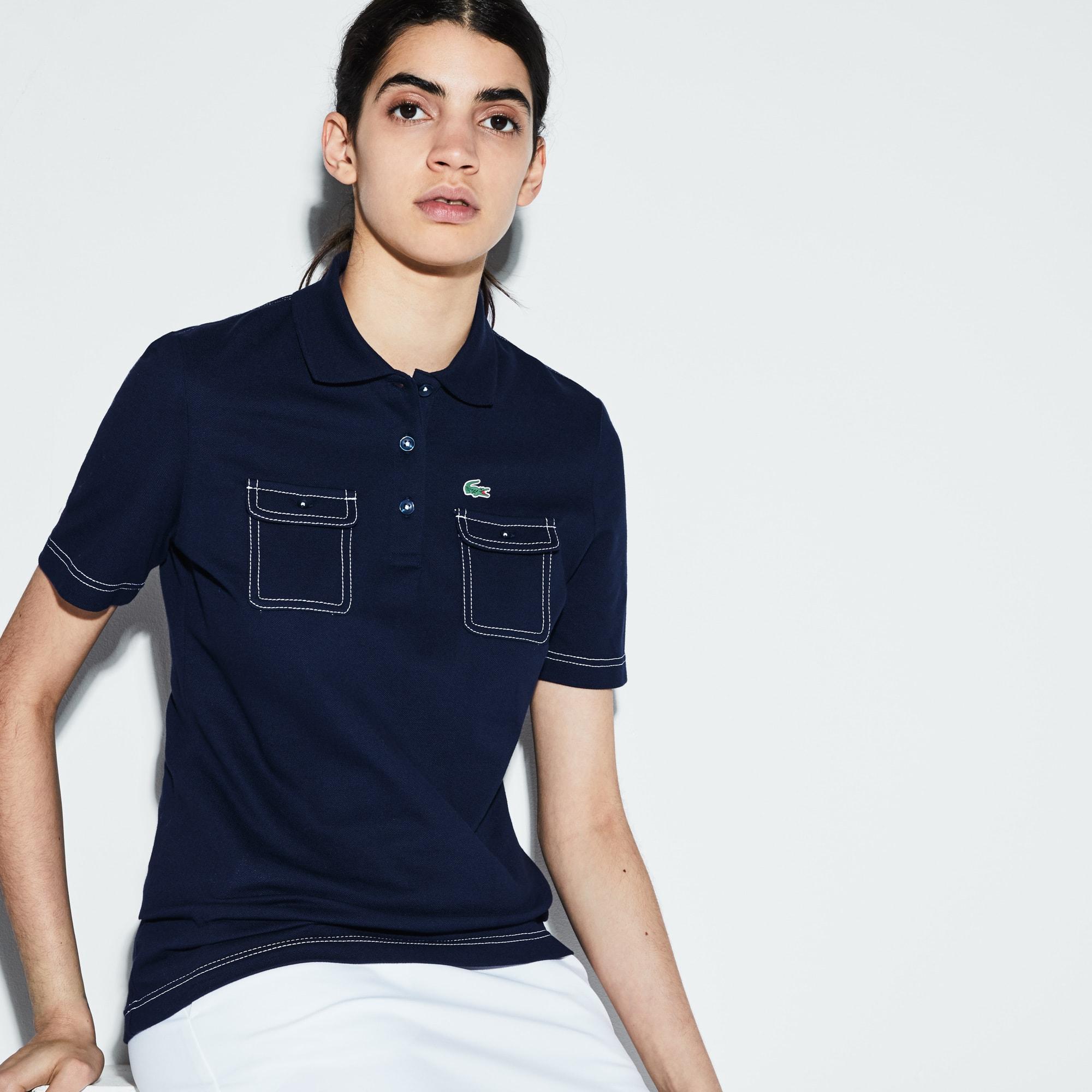 Women's Lacoste SPORT Golf Contrast Accent Stretch Mini Piqué Polo Shirt