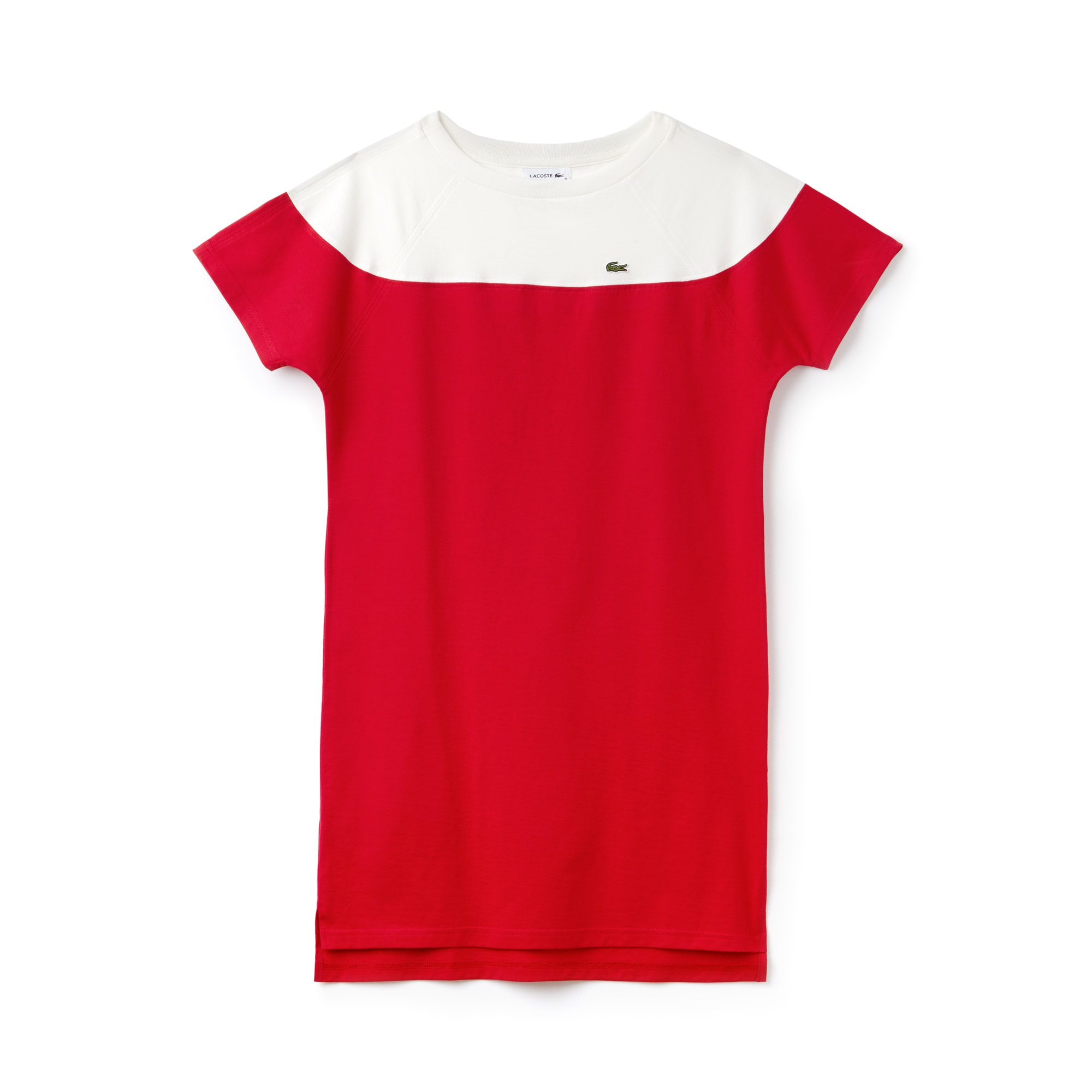 Women's Boat Neck Colorblock Cotton Jersey T-shirt Dress