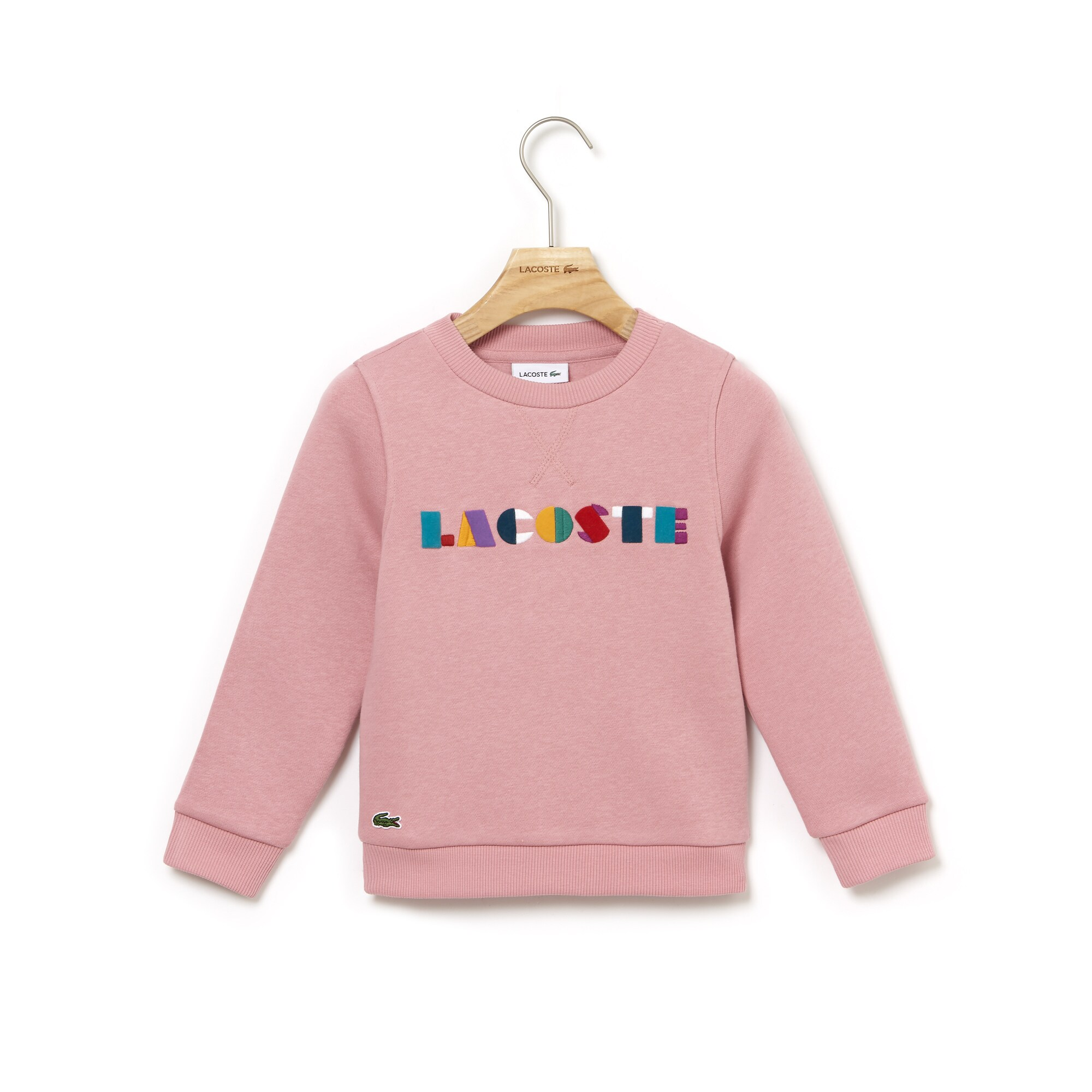 Girls' Crew Neck Colored Lacoste Embroidery Fleece Sweatshirt
