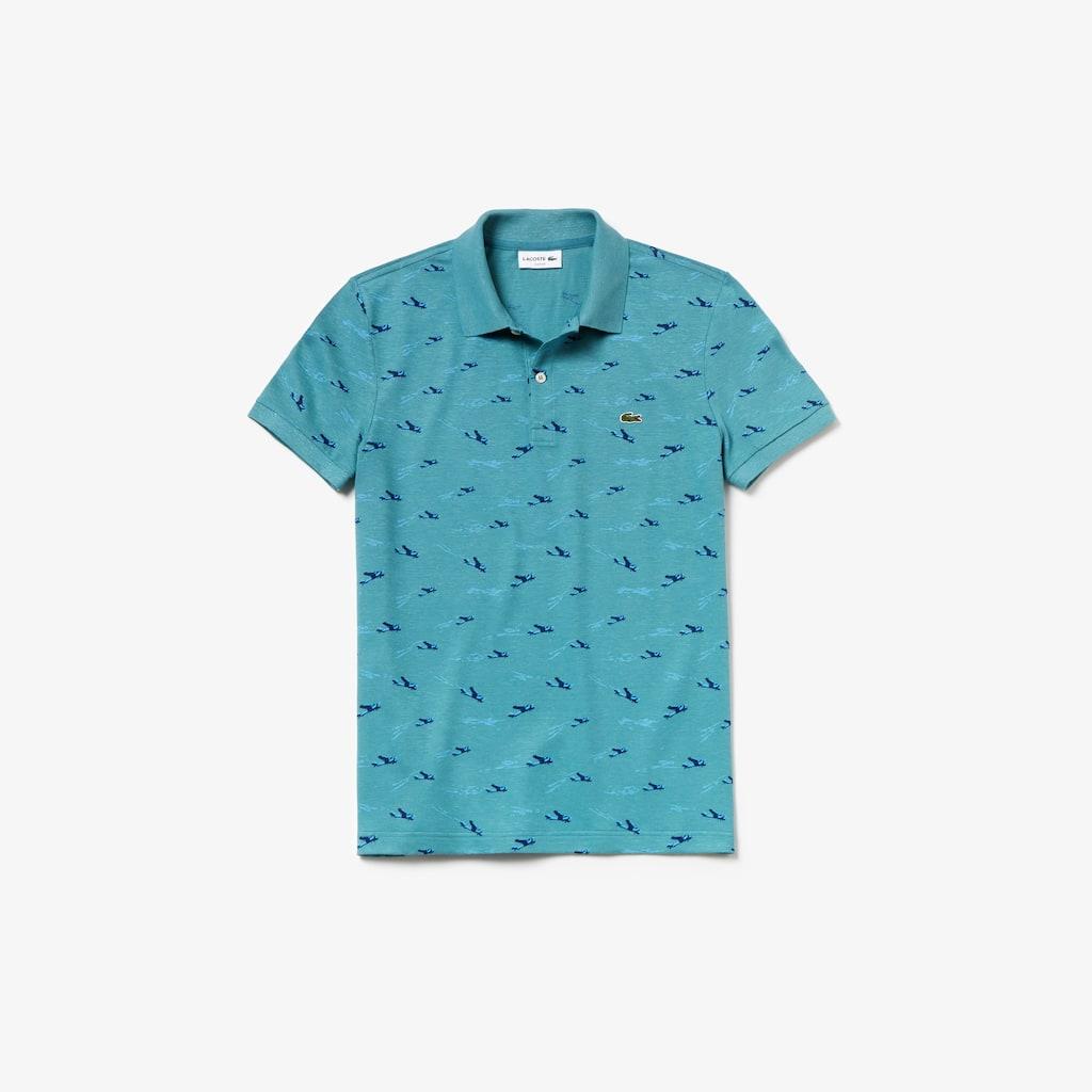Men S Lacoste Slim Fit Airplane Print Cotton And Linen Pique Polo