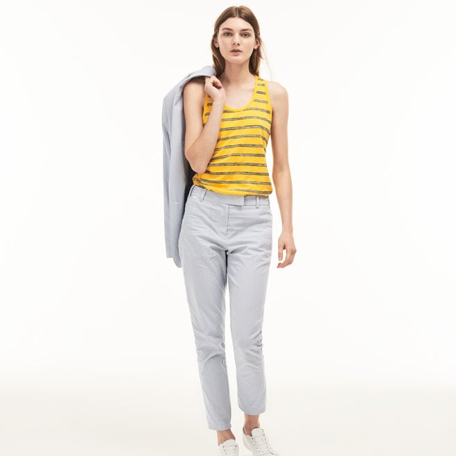 Women's Slim Fit Check Cotton Seersucker Cigarette Pants