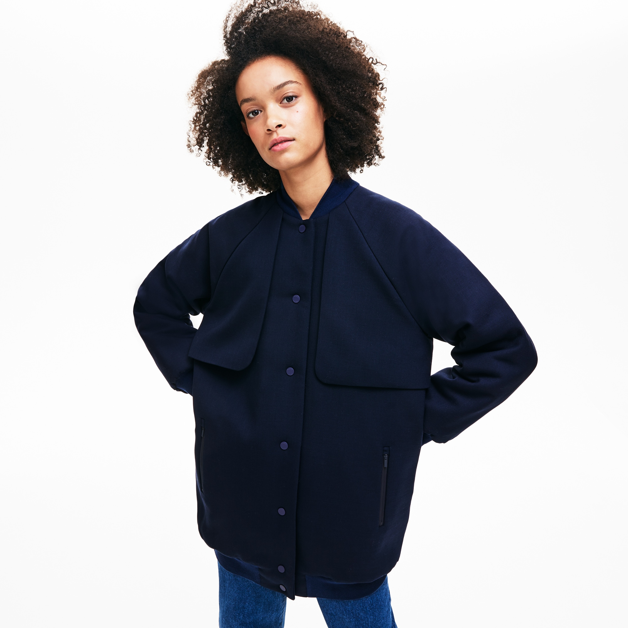 Women's Quilted Lining Long Wool Crepe Bomber Jacket