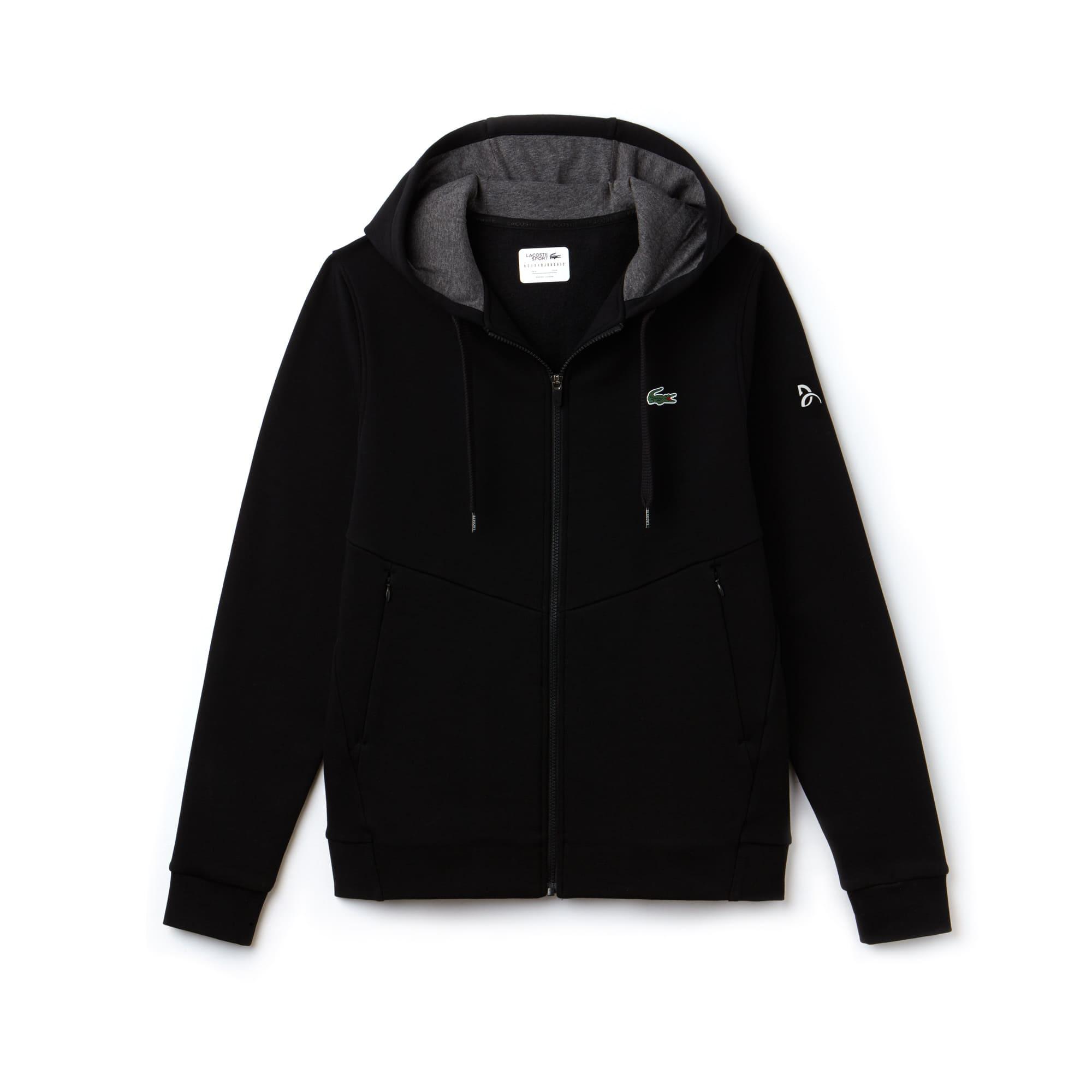 Men's Lacoste SPORT NOVAK DJOKOVIC-OFF COURT COLLECTION Technical Fleece Hooded Zip Sweatshirt