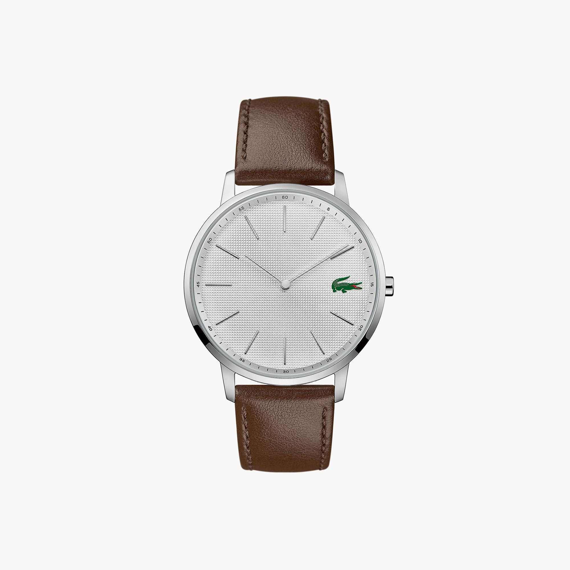 Gents Moon Watch With Brown Leather Strap And Stainless Steel Dial