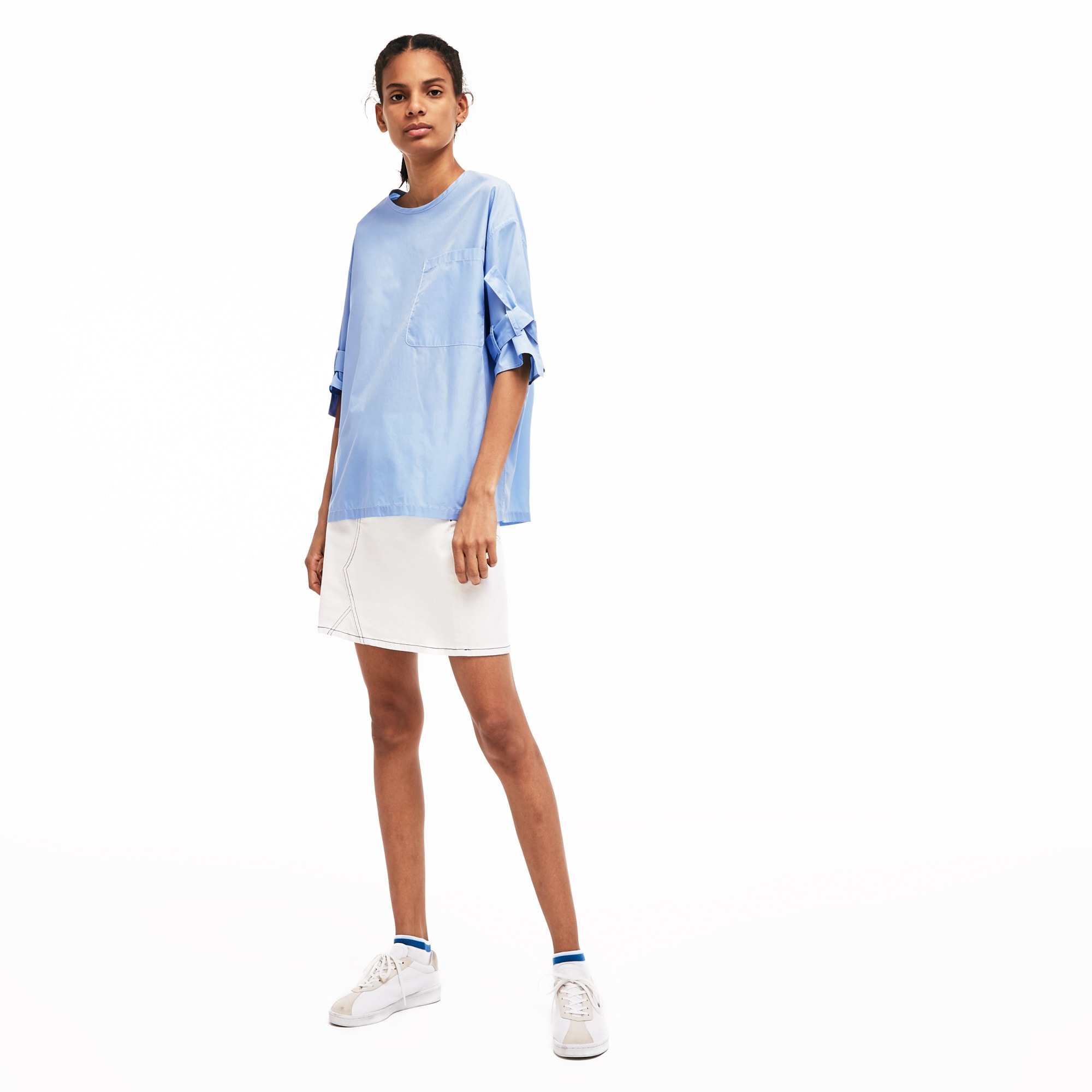 Women's Lacoste LIVE Knot-Sleeved Loose Cotton Poplin Blouse