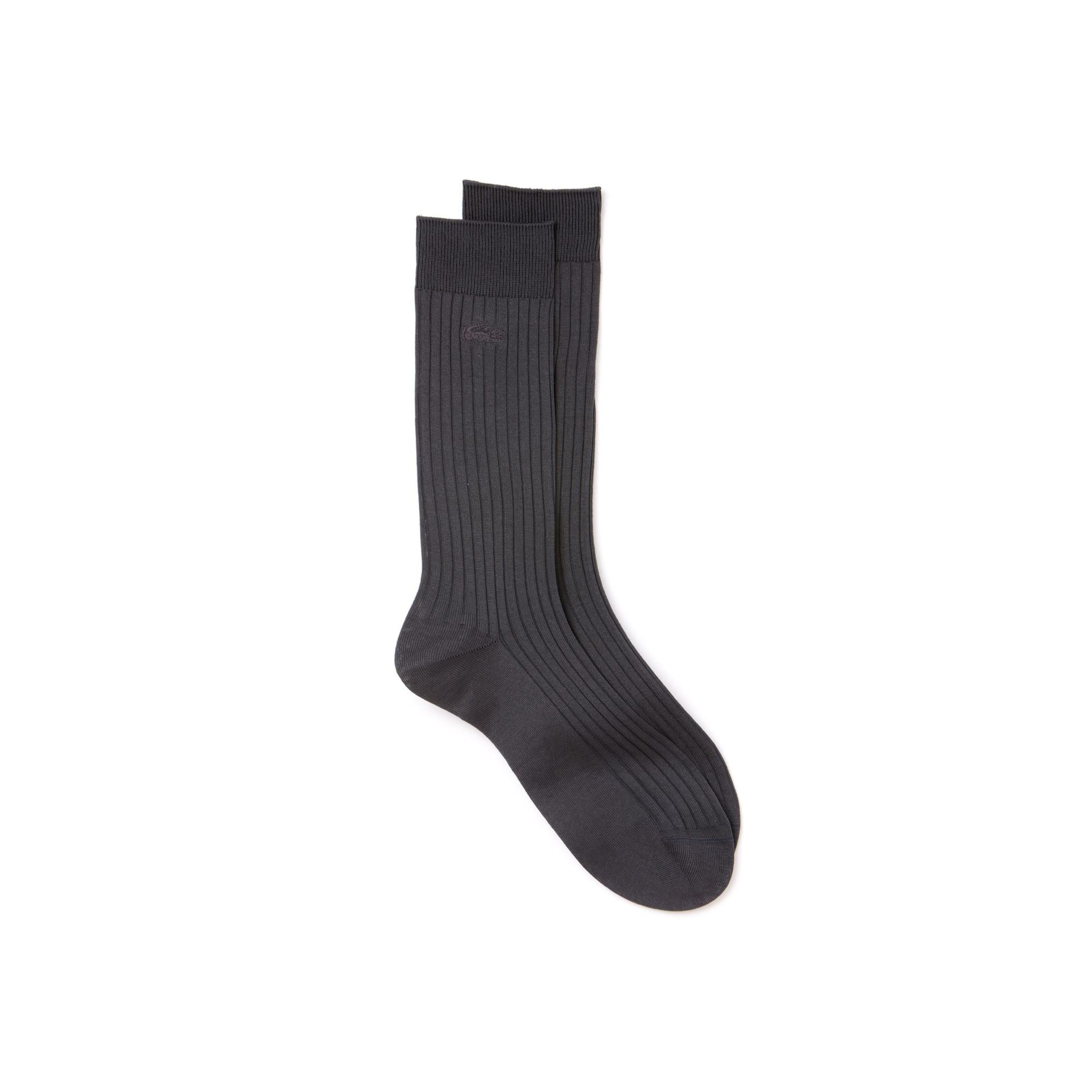 Men's Ribbed solid socks in mercerized cotton blend
