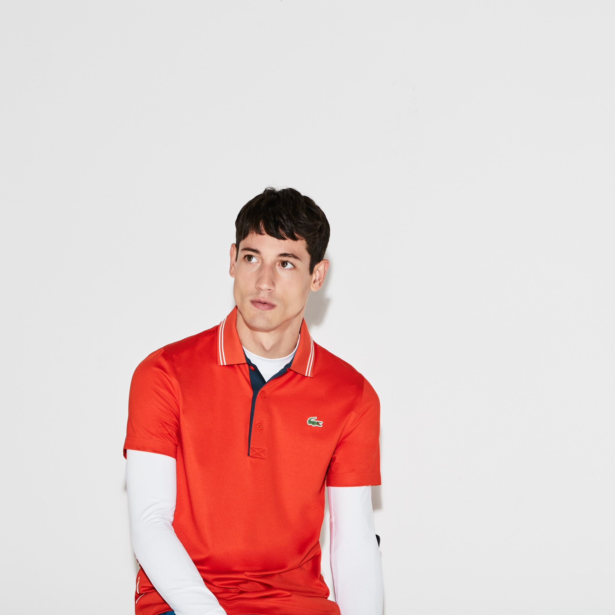 Men's Lacoste SPORT Lettering Stretch Technical Jersey Golf Polo Shirt