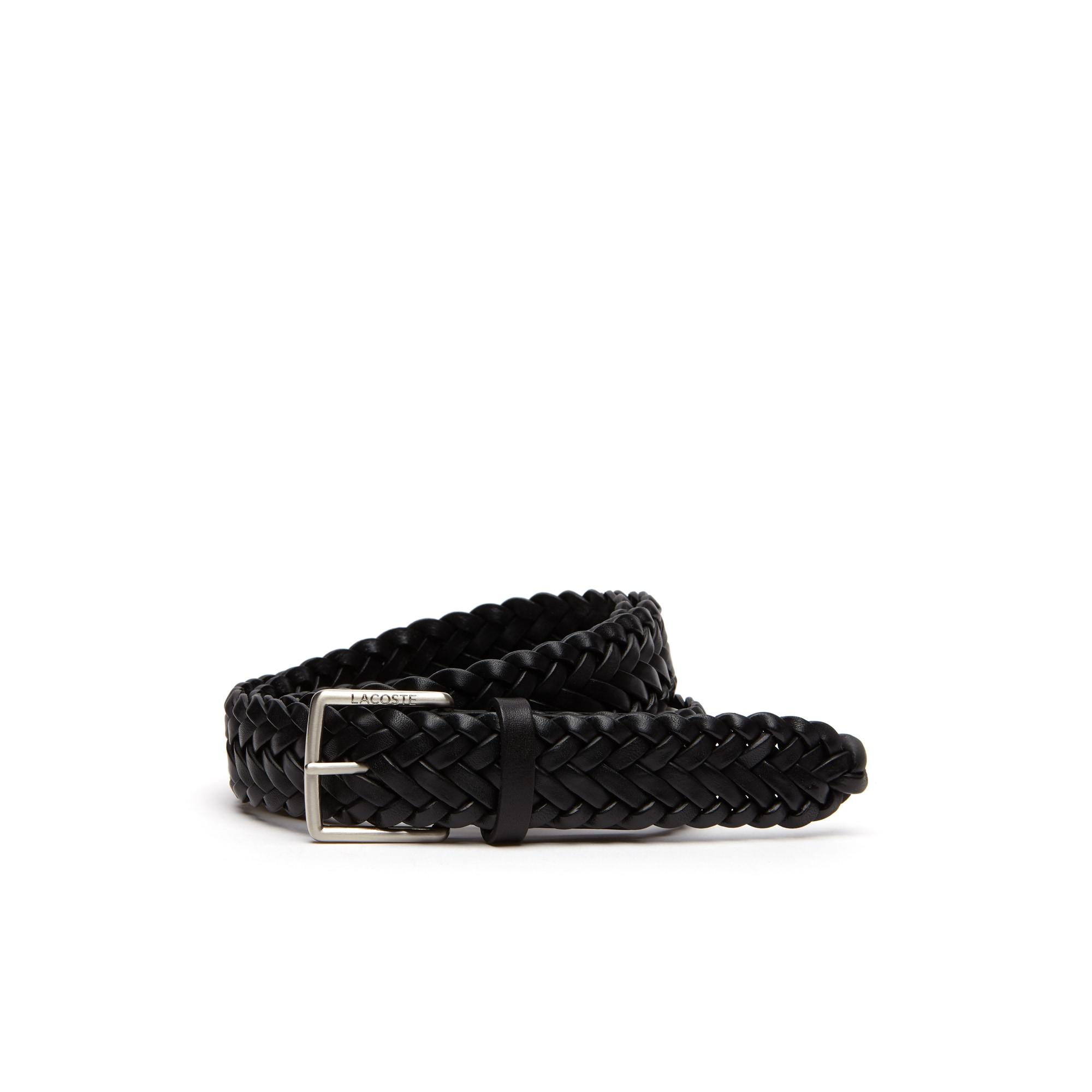 Men's Lacoste Engraved Tongue Buckle Braided Leather Belt