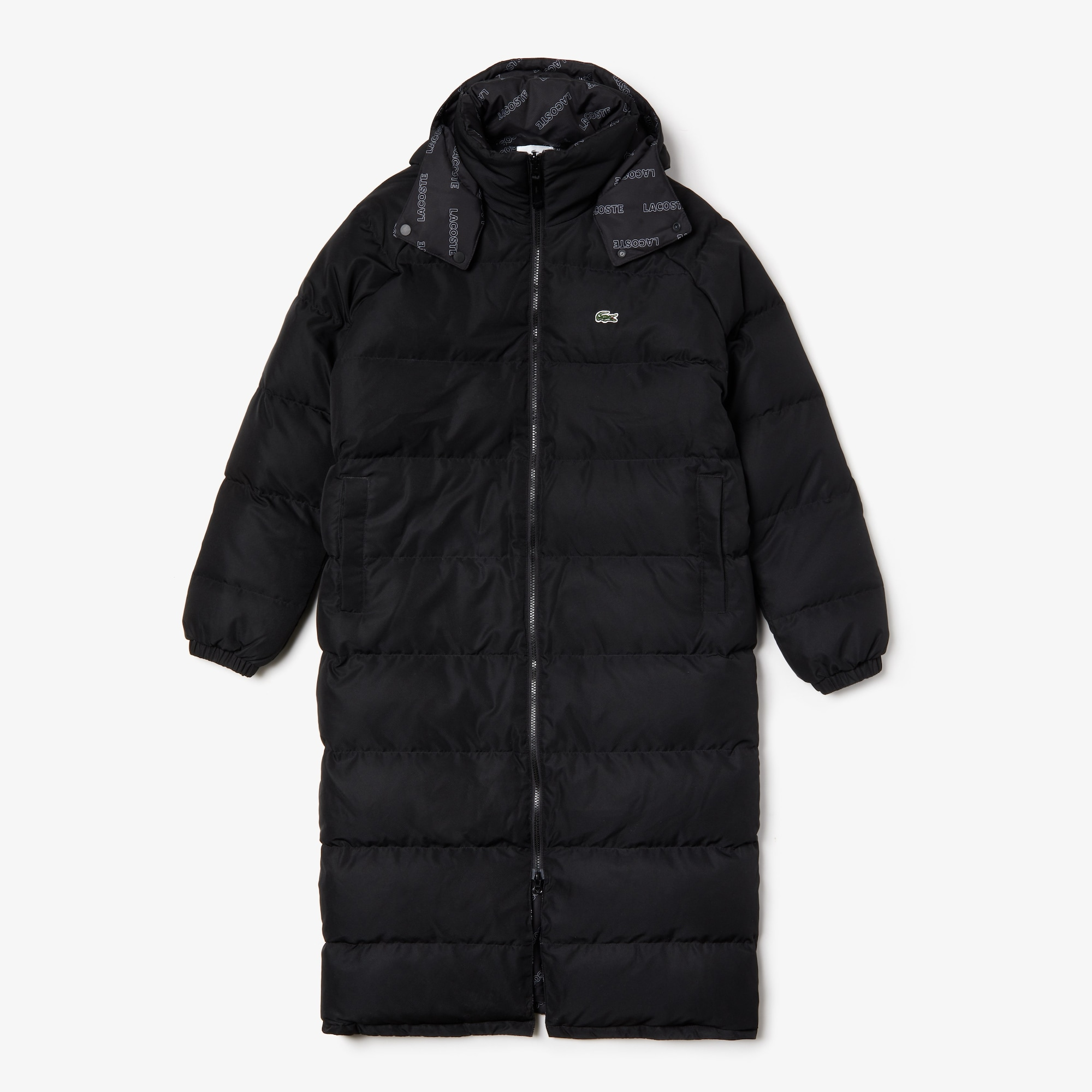 Men's Lacoste LIVE Print Lining Long Reversible Quilted Jacket