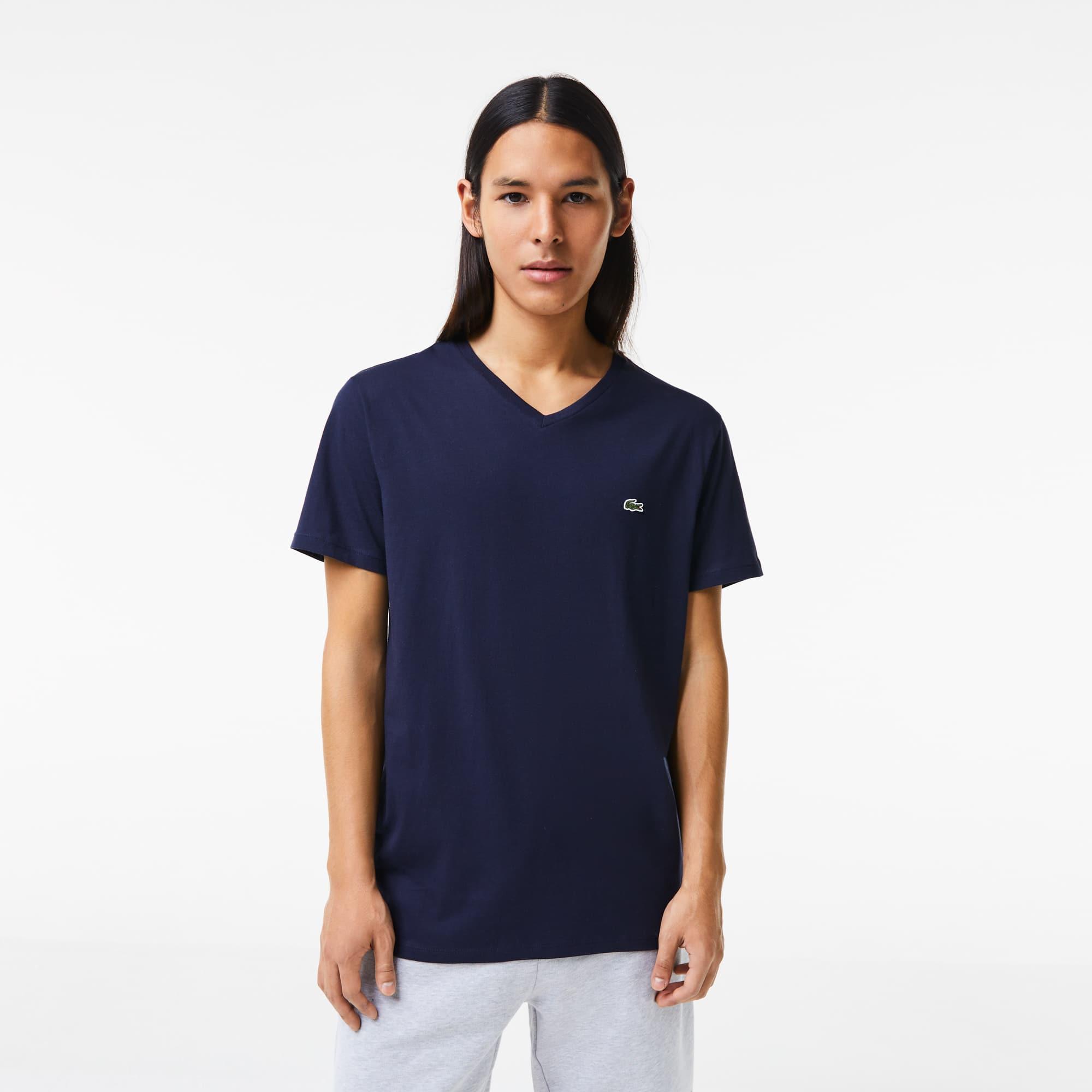 Lacoste Pima Cotton V Neck T Shirt # TH6604 51 166 Navy Men SZ S 3XL