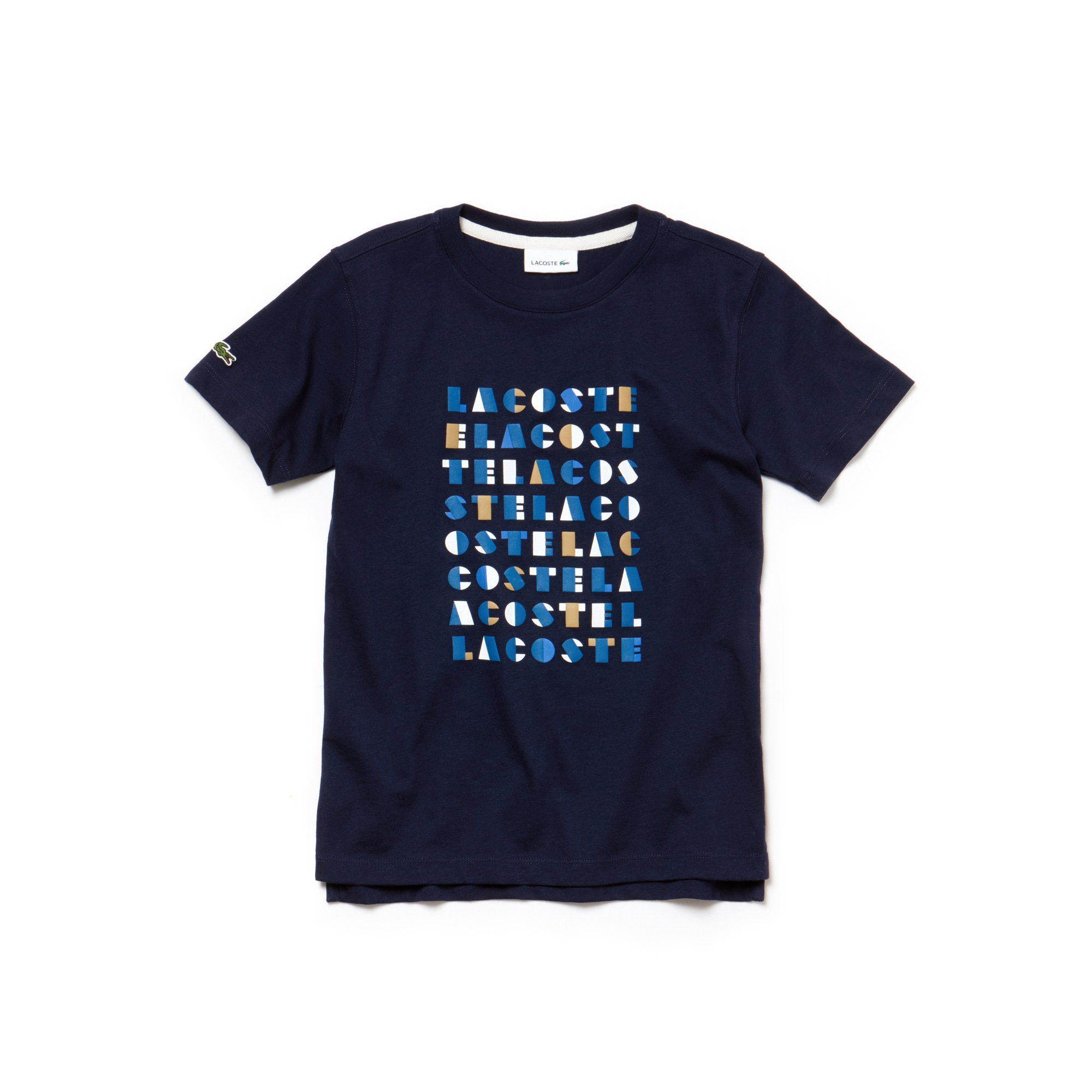 Boys' Crew Neck Graphic Lacoste Lettering Cotton Jersey T-shirt