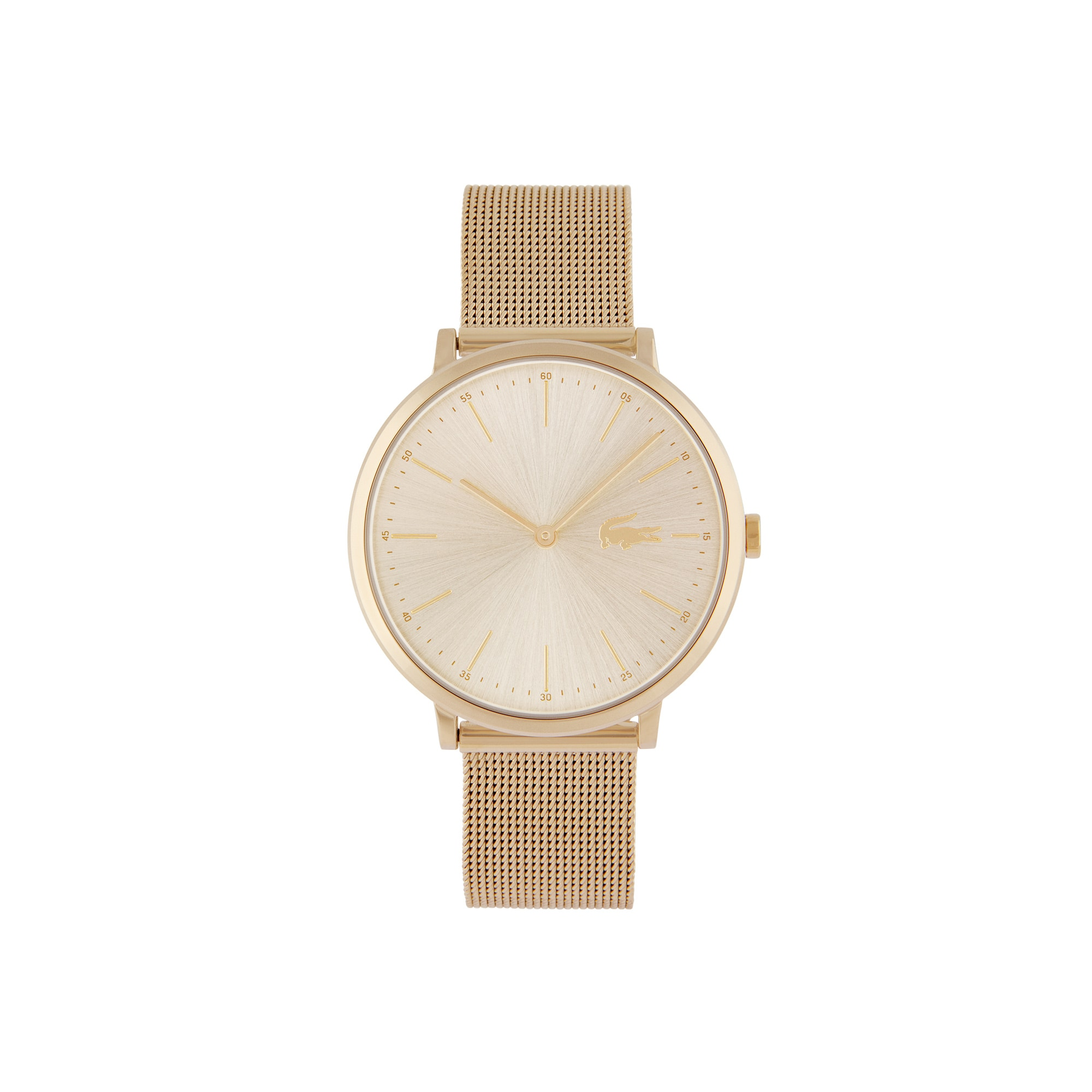 Women's Moon Ultra Slim Watch with Yellow Gold Plated Mesh Bracelet