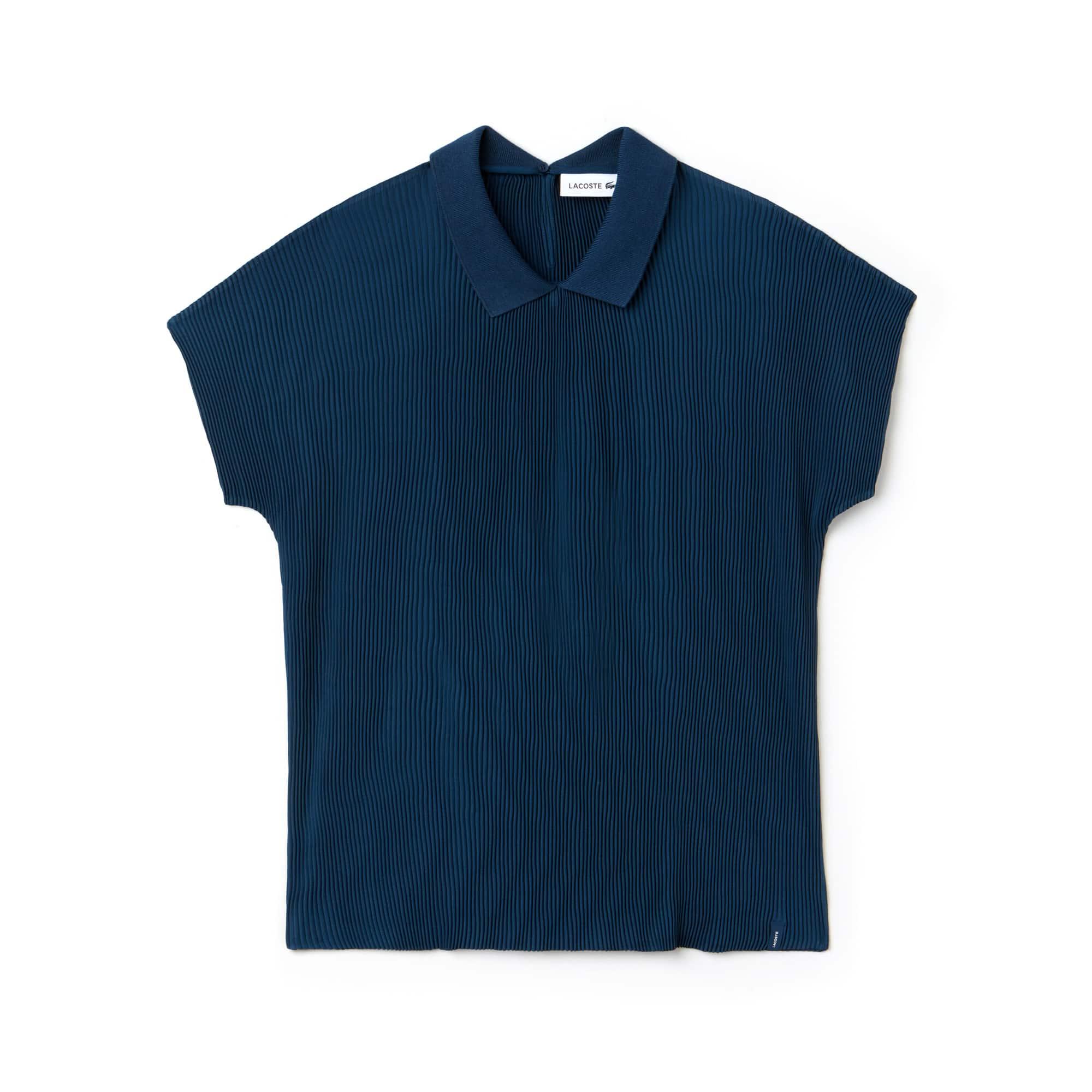 Women's Polo Collar Crepe Top