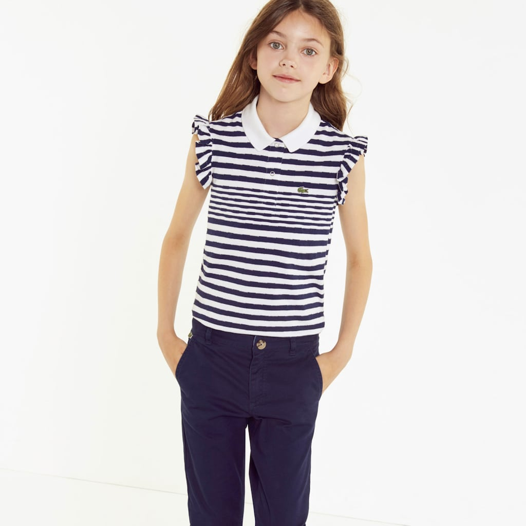 92414396ac86f Girls  Lacoste Flounced Sleeved Striped Cotton Polo Shirt