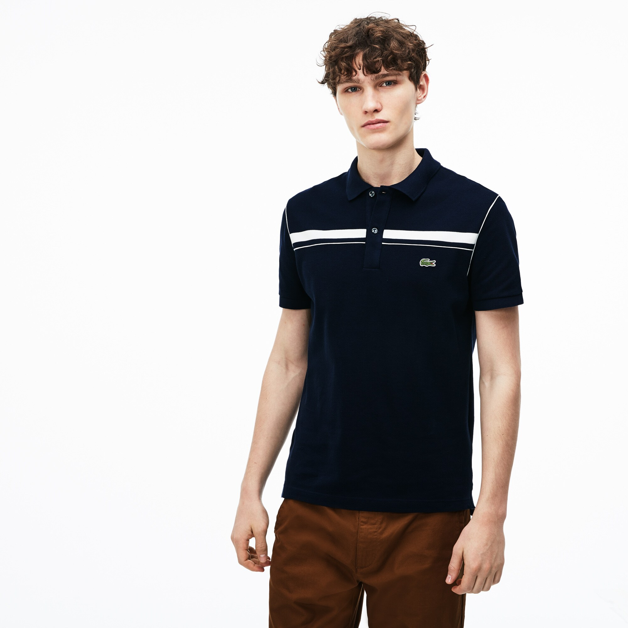 Men's Lacoste Regular Fit Contrast Bands Piqué Polo Shirt