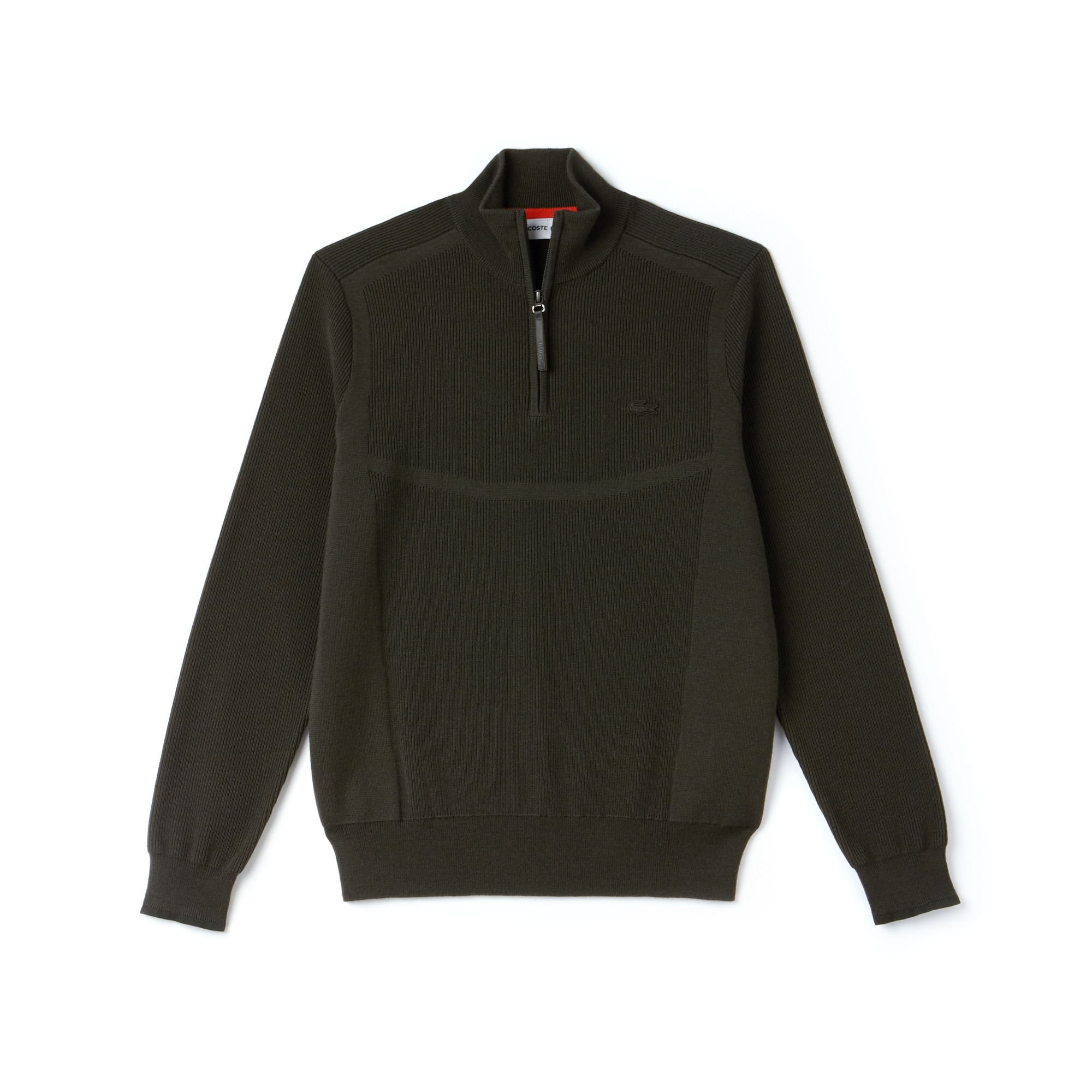 Men's Lacoste Motion Zippered Stand-Up Collar Ribbed Wool Sweater