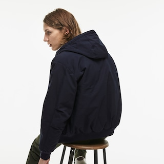 Men's Short Hooded Zippered Down Cotton Twill Jacket