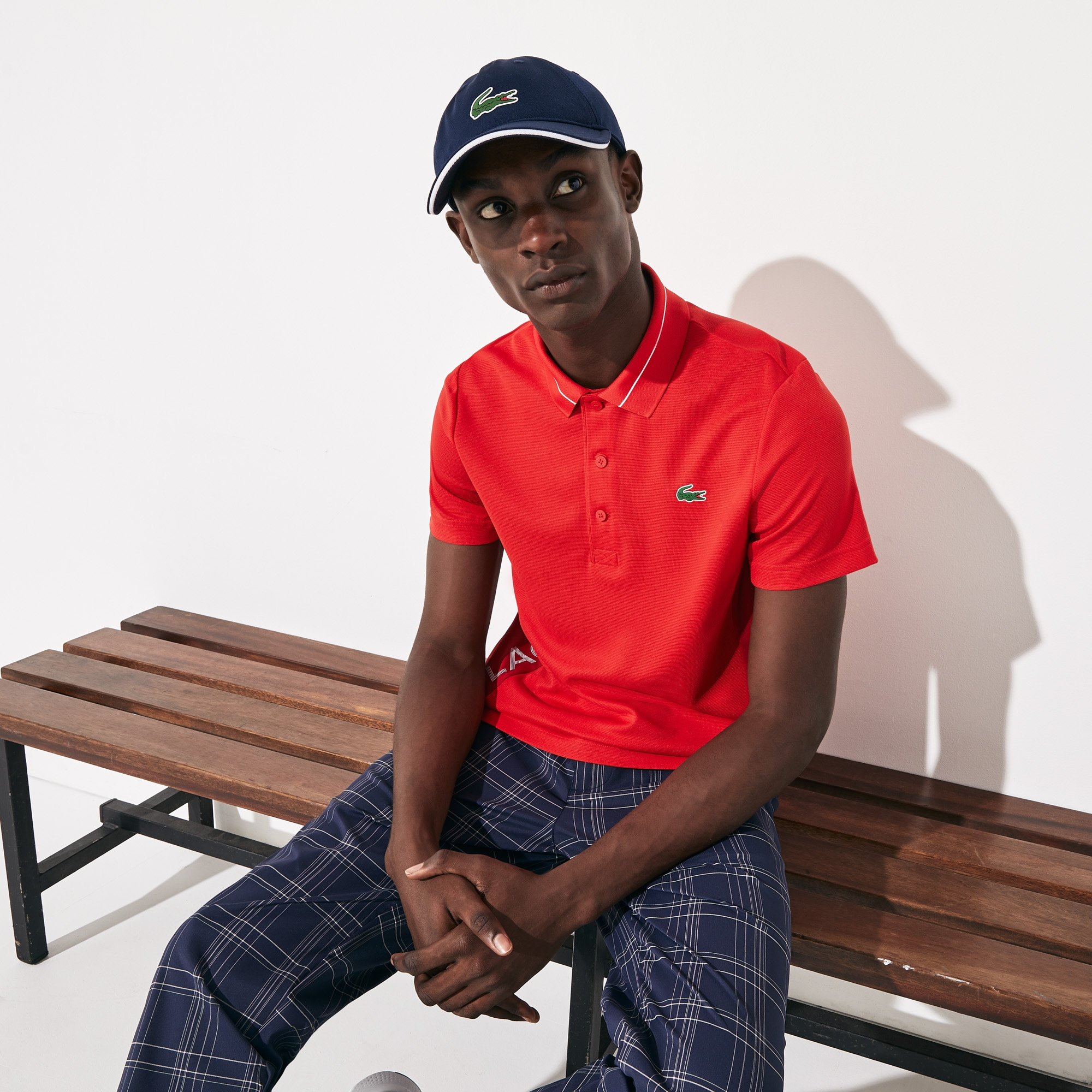 Men's Lacoste SPORT Lettering And Panels Knit Golf Polo Shirt
