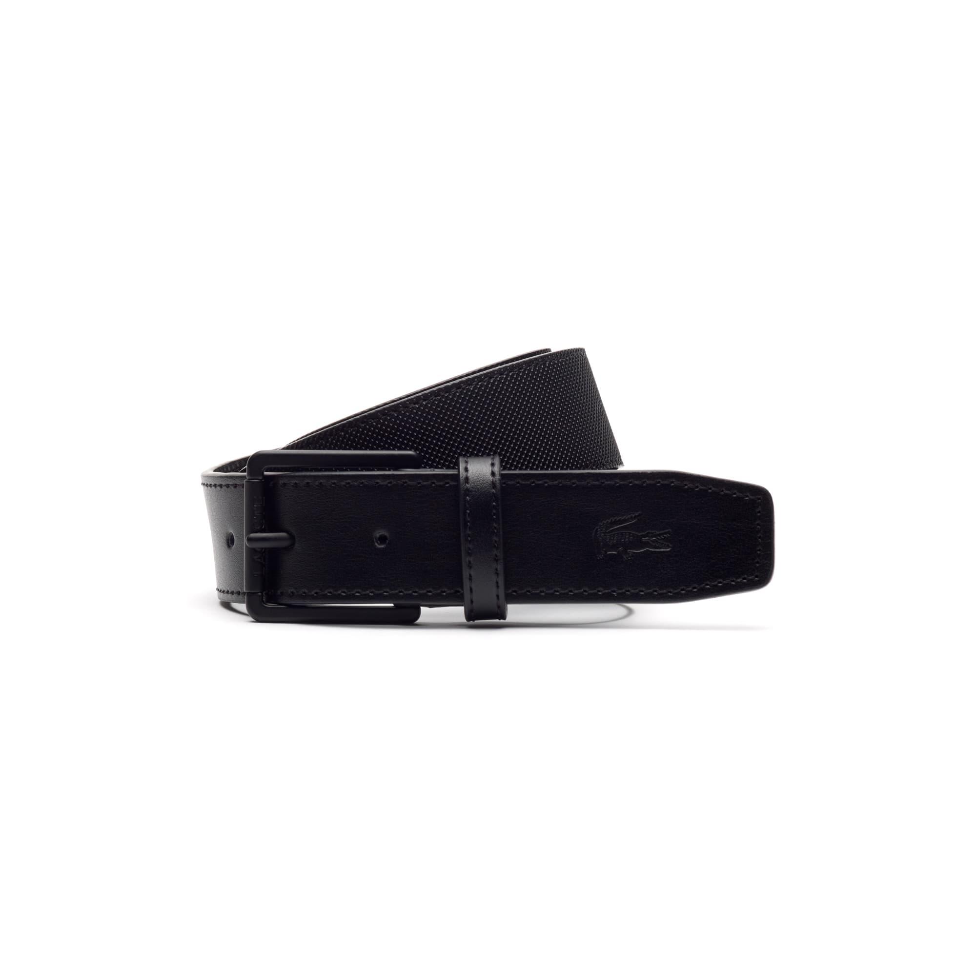 Men's Classic belt in monochrome petit piqué embossed leather
