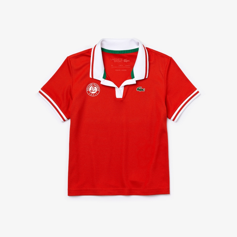 Girls' Lacoste SPORT Roland Garros Breathable V-Neck Polo Shirt