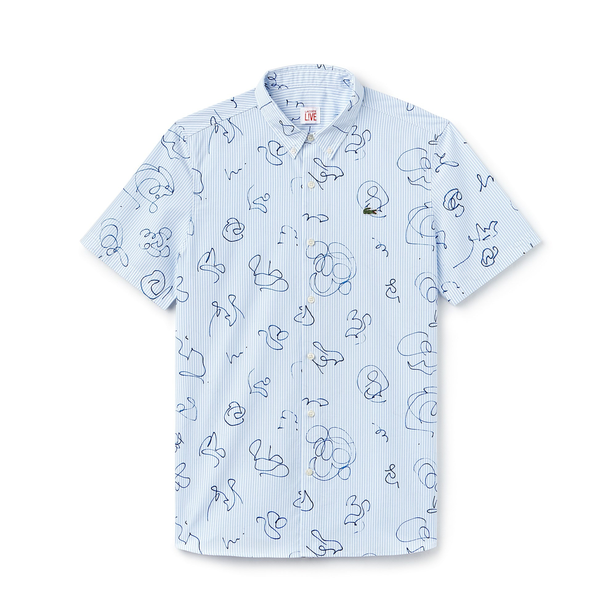 Men's Lacoste LIVE Striped Print Poplin Shirt