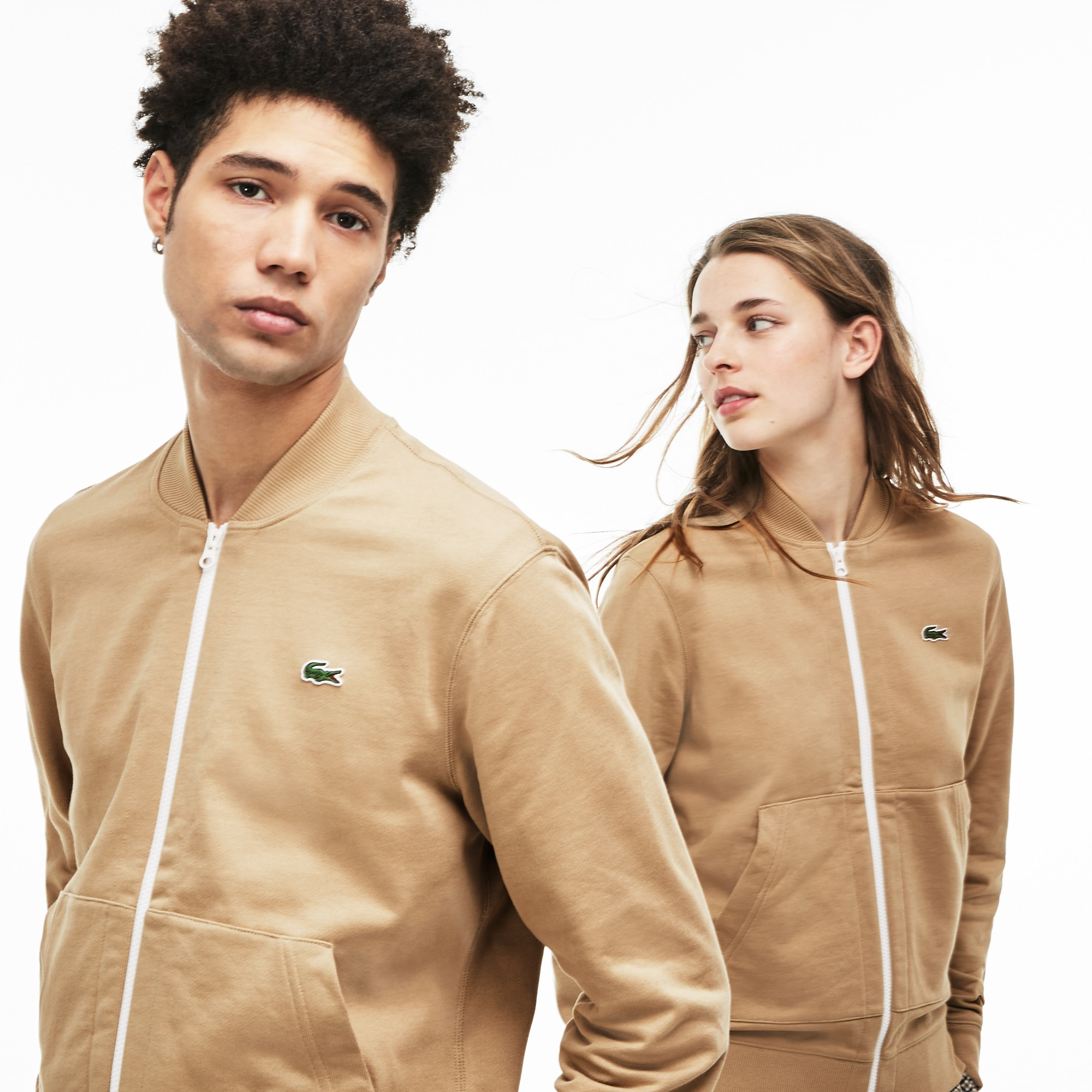 Unisex Lacoste LIVE Teddy Neck Zip Fleece Sweatshirt