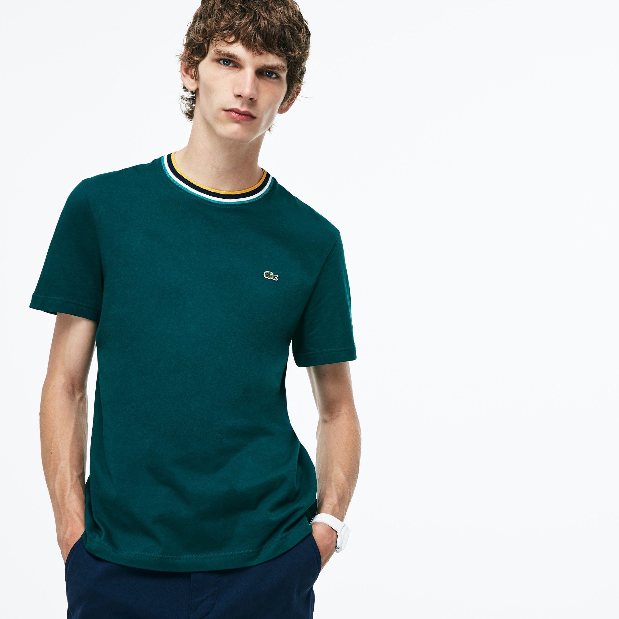 Men's Striped Ribbed Crew Neck Cotton Jersey T-shirt