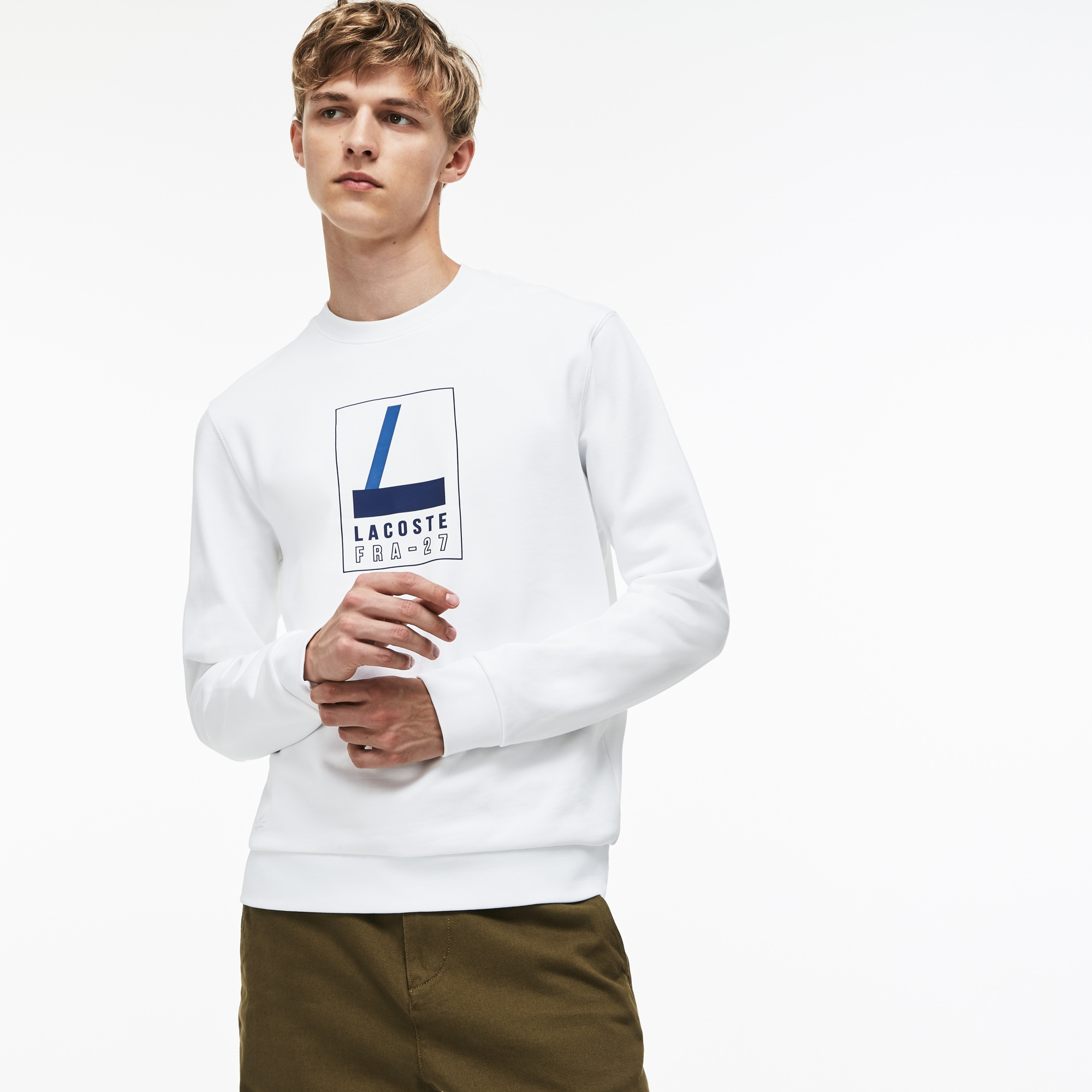 Men's Crew Neck Lacoste Print Fleece Sweatshirt